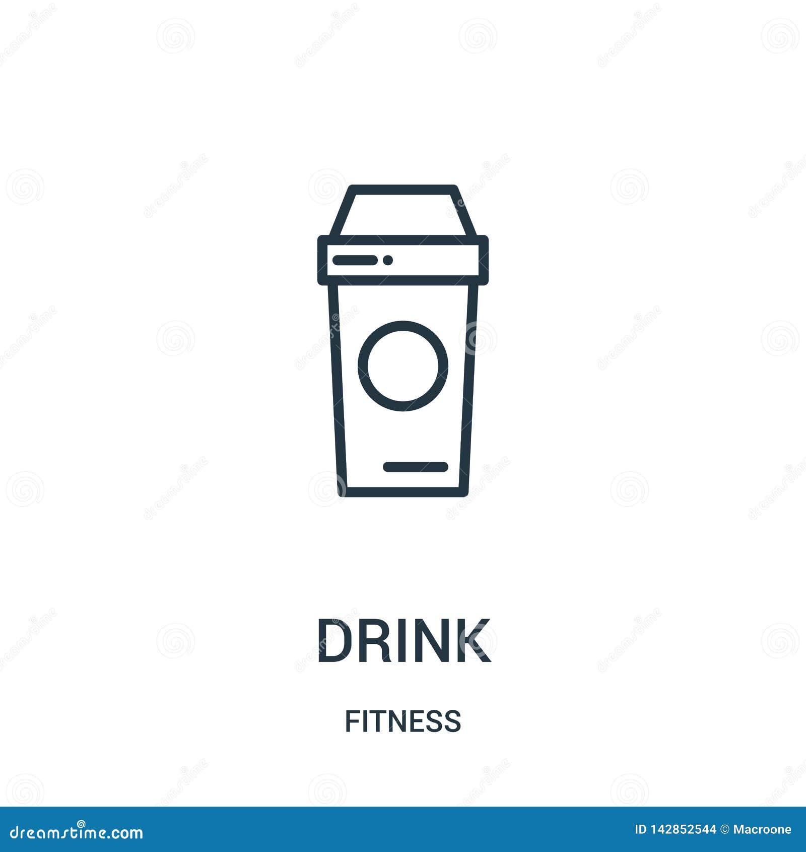 Vecteur d icône de boissons de collection de forme physique Ligne mince illustration de vecteur d icône d ensemble de boissons Sy