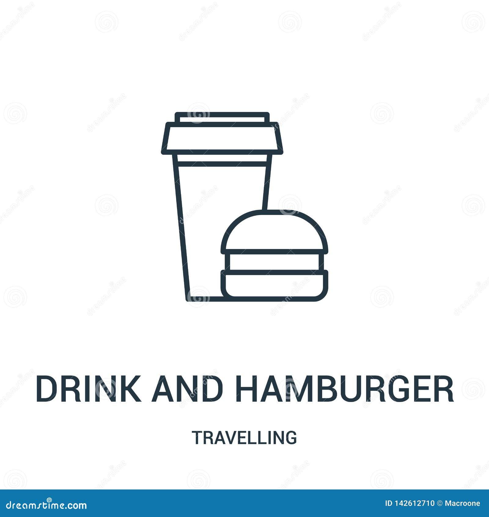Vecteur d icône de boissons et d hamburger de la collection de déplacement Ligne mince boisson et illustration de vecteur d icône