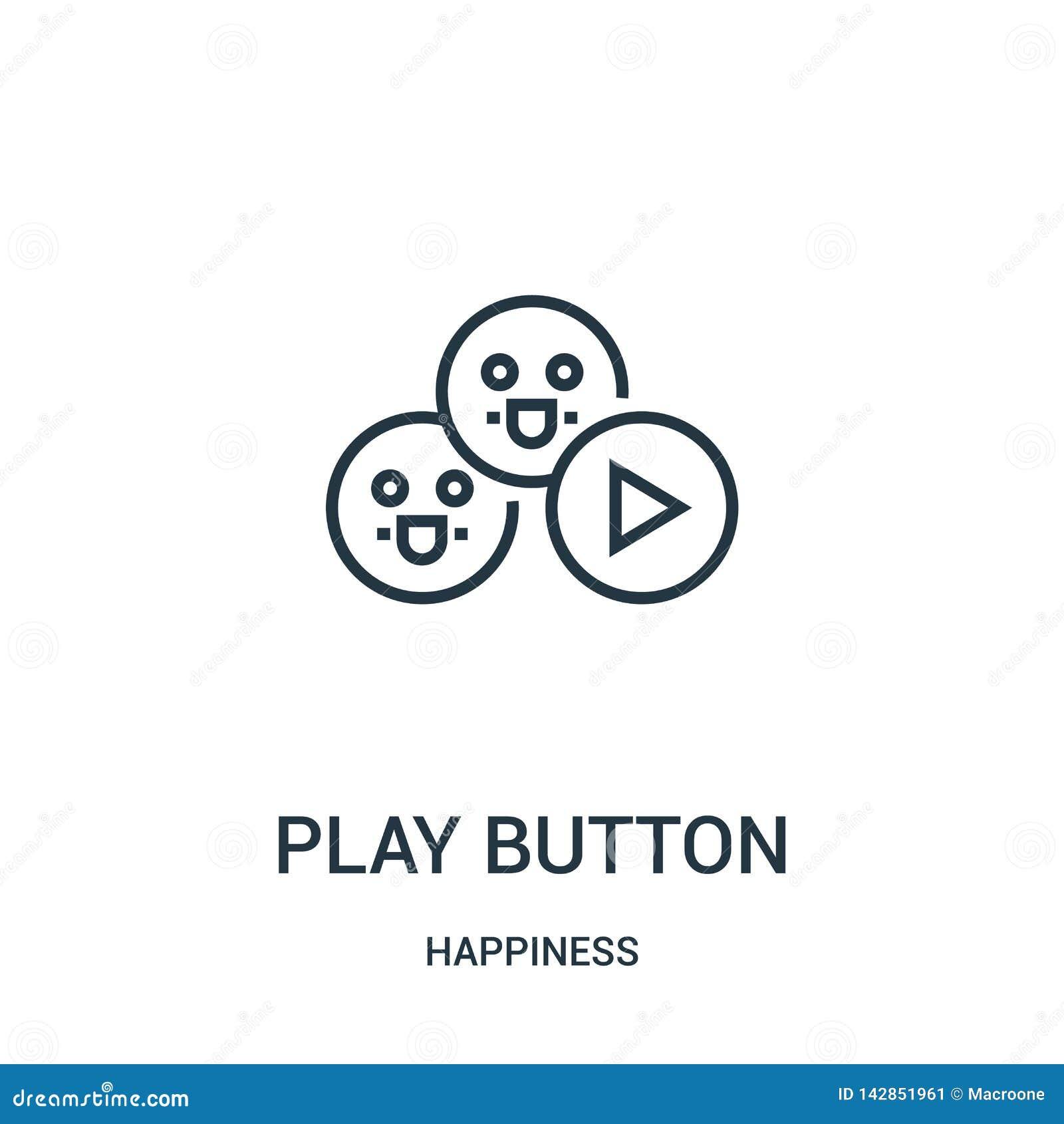 Vecteur d icône de bouton de jeu de collection de bonheur Ligne mince illustration de vecteur d icône d ensemble de bouton de jeu