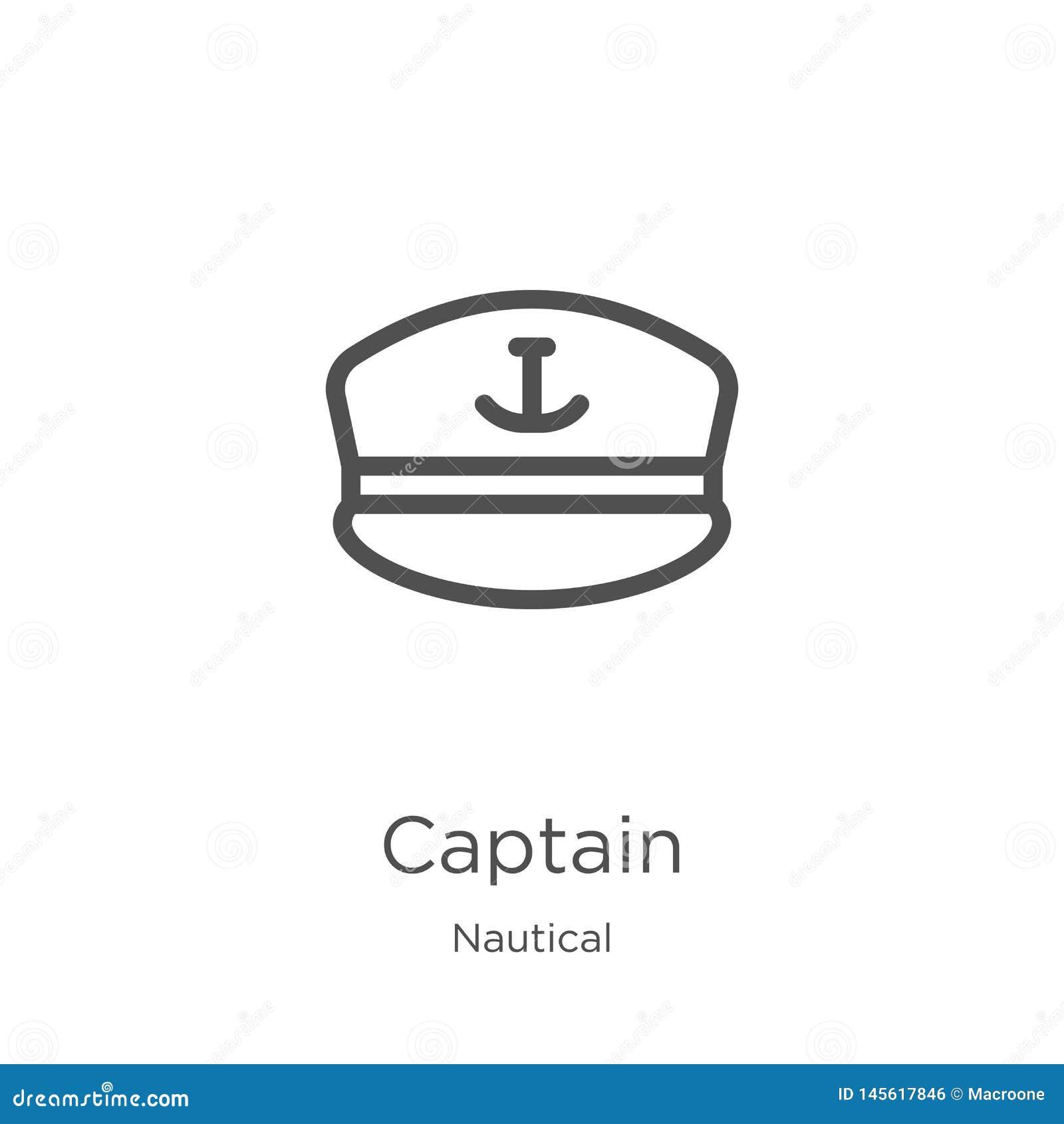 Vecteur d icône de capitaine de la collection nautique Ligne mince illustration de vecteur d ic?ne d ensemble de capitaine Contou