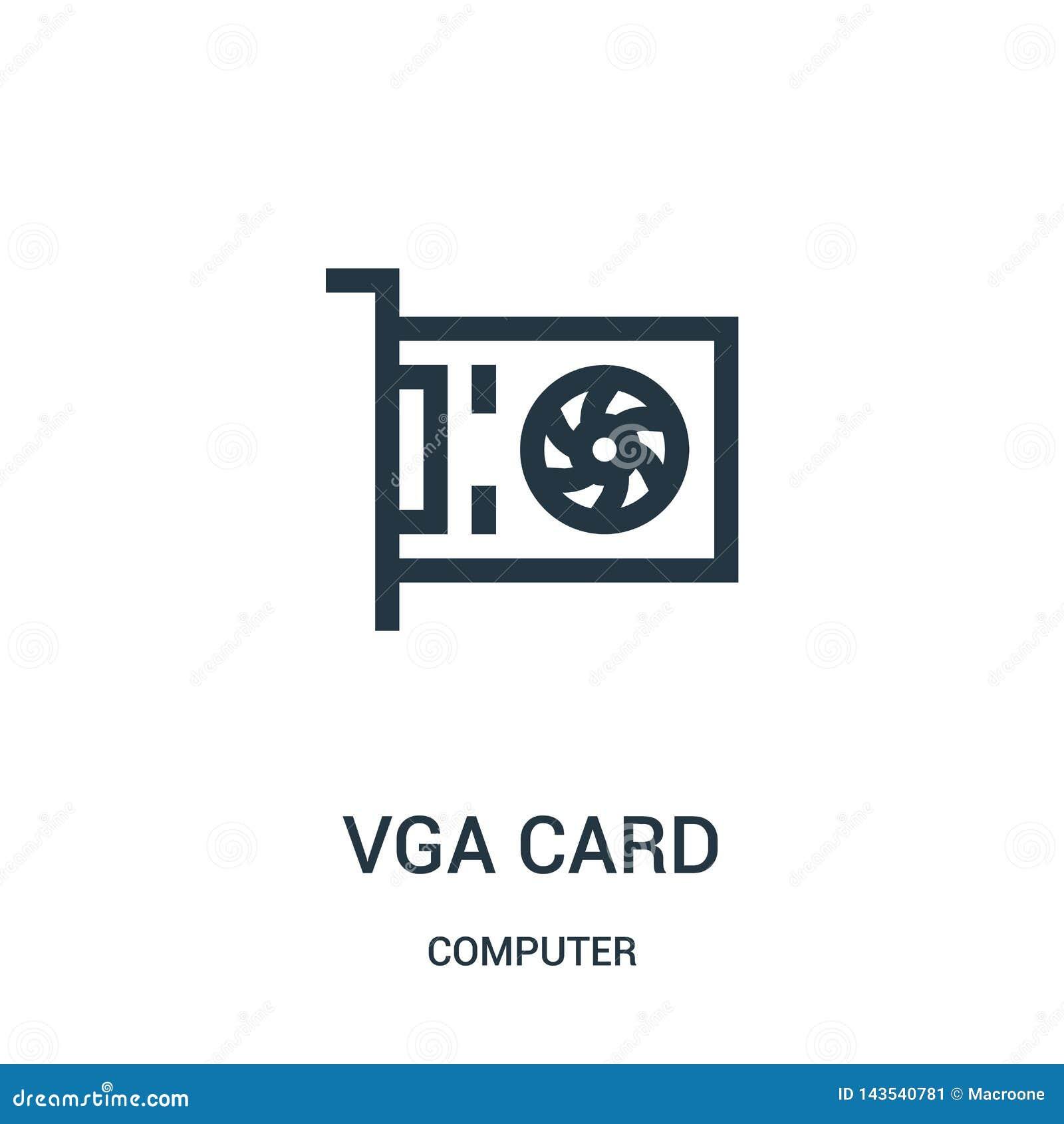 Vecteur d icône de carte du VGA de collection d ordinateur Ligne mince illustration de vecteur d icône d ensemble de carte du VGA