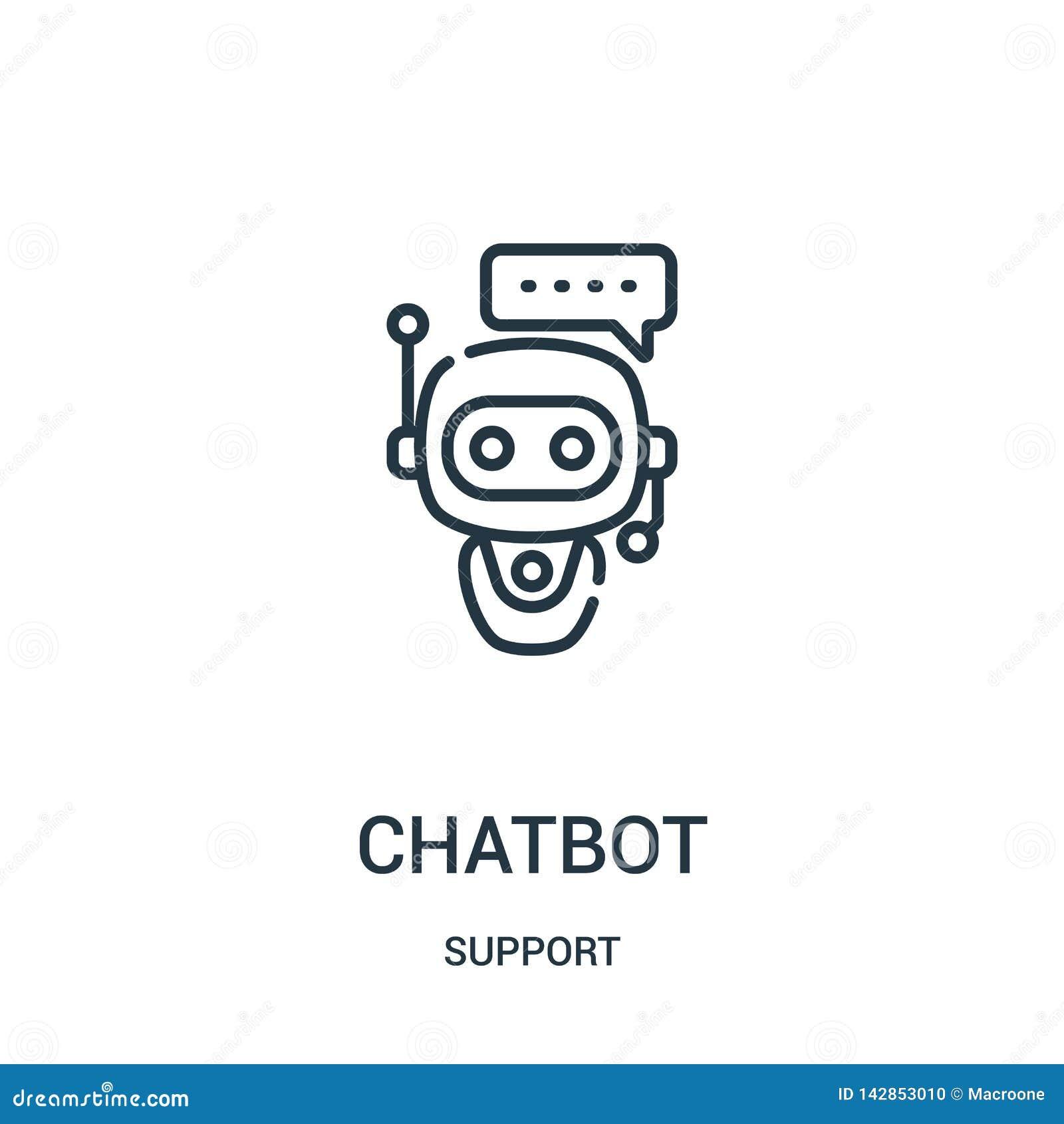 Vecteur d icône de chatbot de collection de soutien Ligne mince illustration de vecteur d icône d ensemble de chatbot Symbole lin