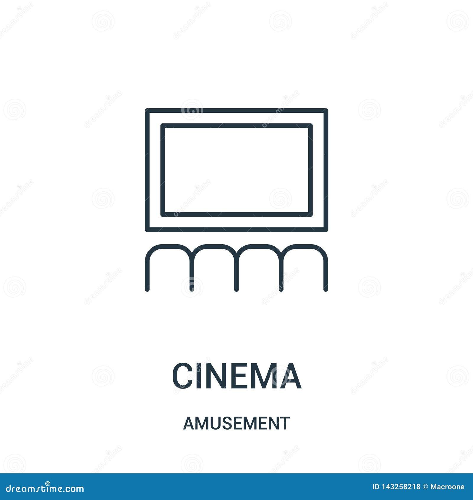 Vecteur d icône de cinéma de collection d amusement Ligne mince illustration de vecteur d icône d ensemble de cinéma