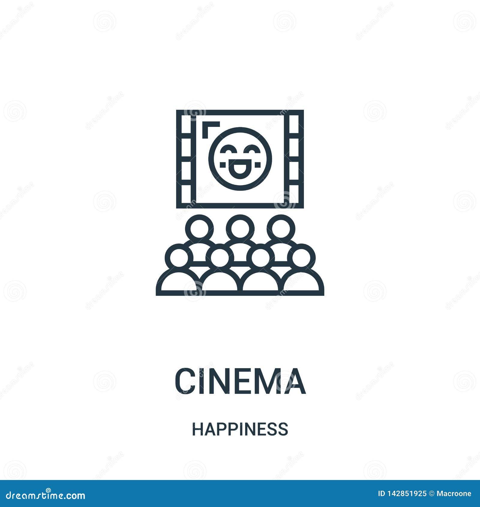 Vecteur d icône de cinéma de collection de bonheur Ligne mince illustration de vecteur d icône d ensemble de cinéma Symbole linéa