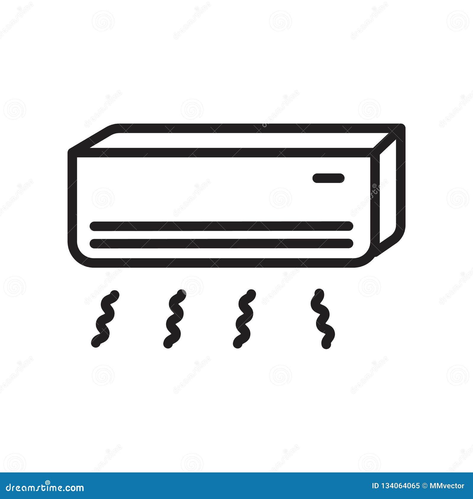 Vecteur d icône de climatiseur d isolement sur le fond blanc, le signe de climatiseur, le symbole linéaire et les éléments de con