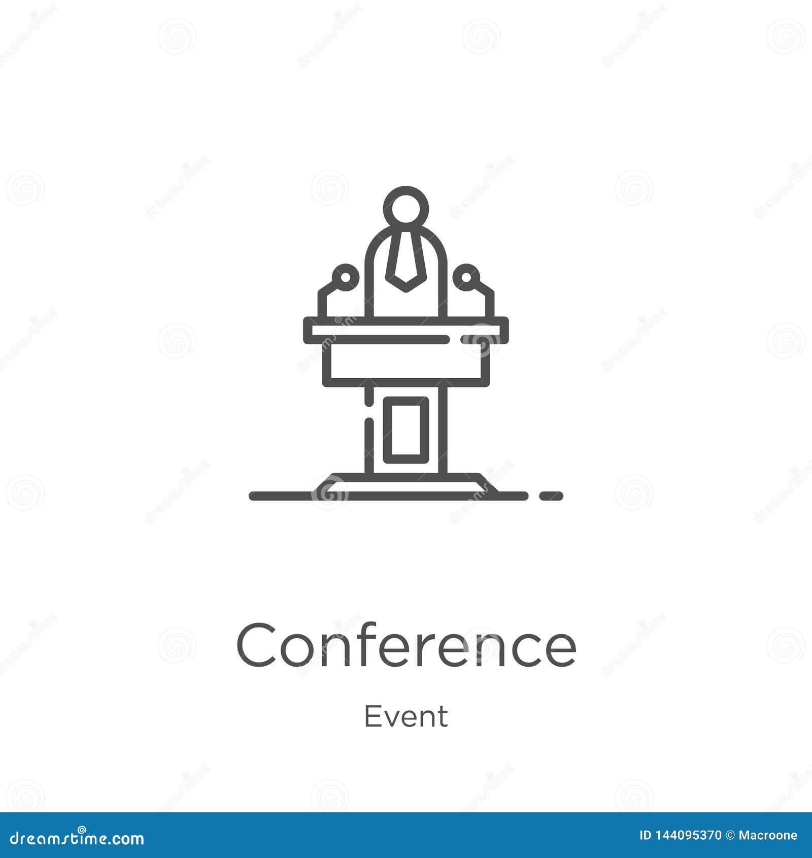 Vecteur d icône de conférence de collection d événement Ligne mince illustration de vecteur d icône d ensemble de conférence Cont