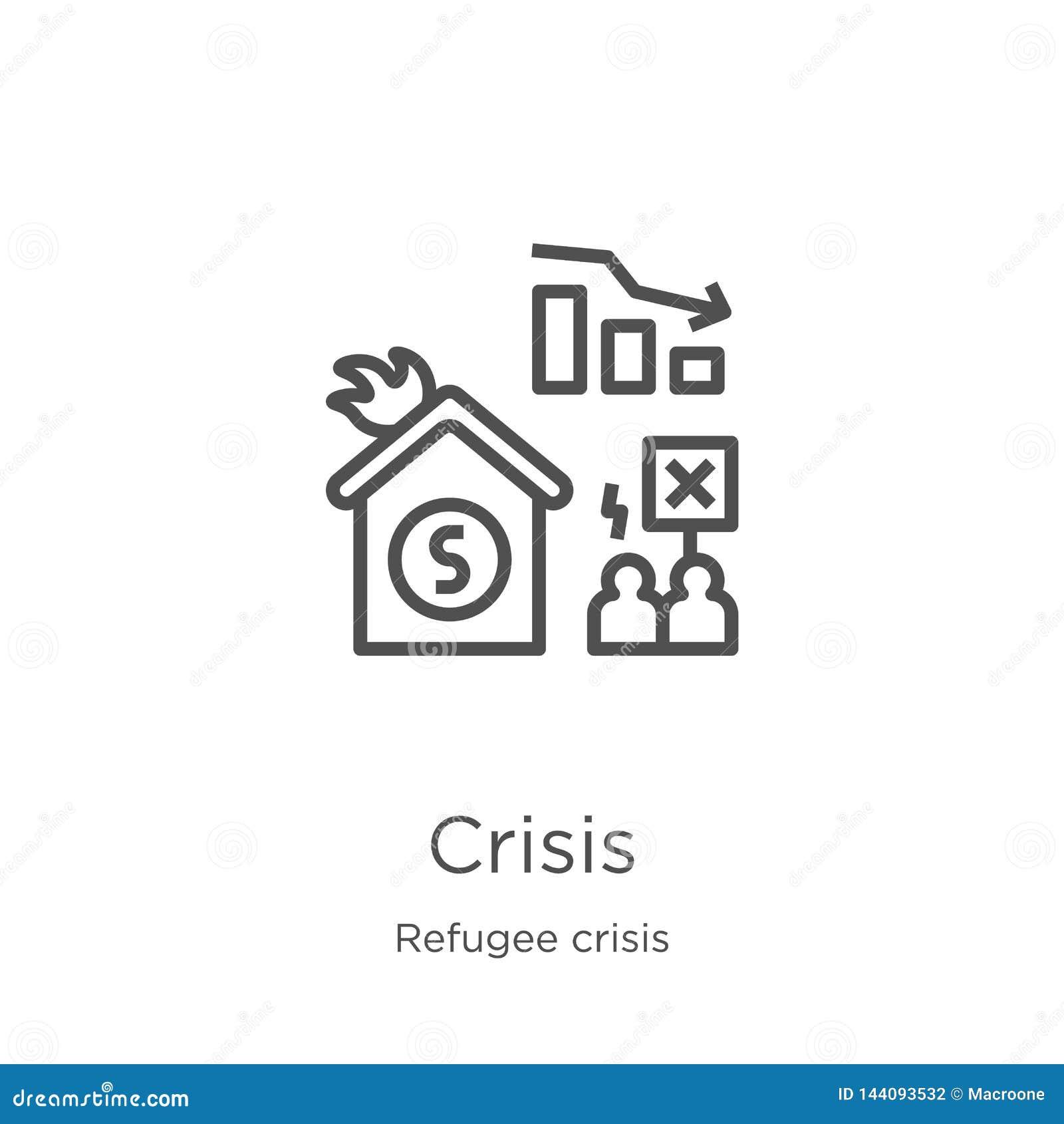 Vecteur d icône de crise de collection de crise de réfugié Ligne mince illustration de vecteur d icône d ensemble de crise Contou
