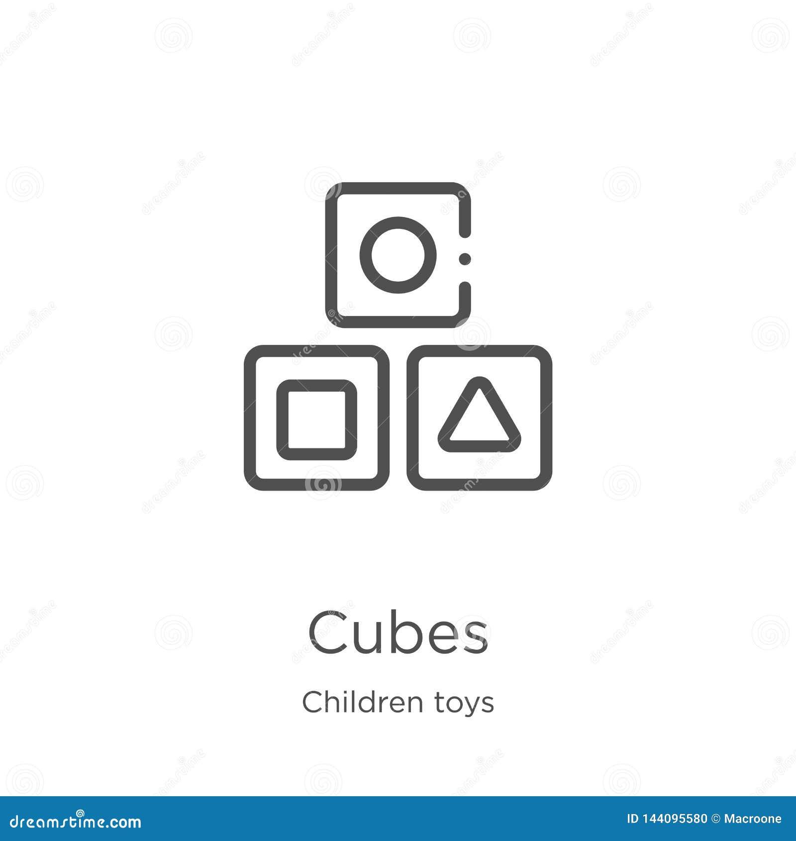 Vecteur d icône de cubes de collection de jouets d enfants Ligne mince illustration de vecteur d icône d ensemble de cubes Contou