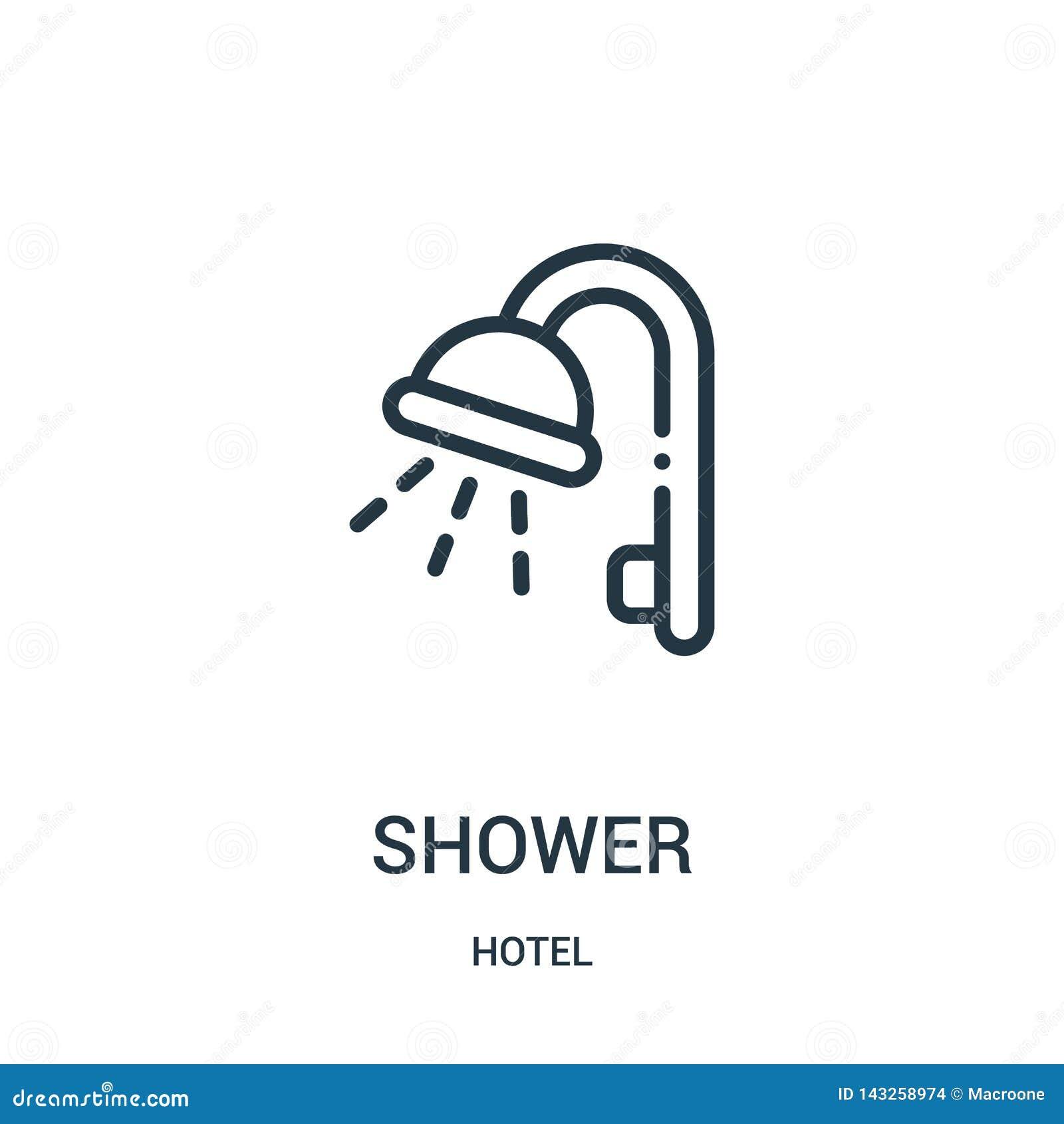 Vecteur d icône de douche de collection d hôtel Ligne mince illustration de vecteur d ic?ne d ensemble de douche