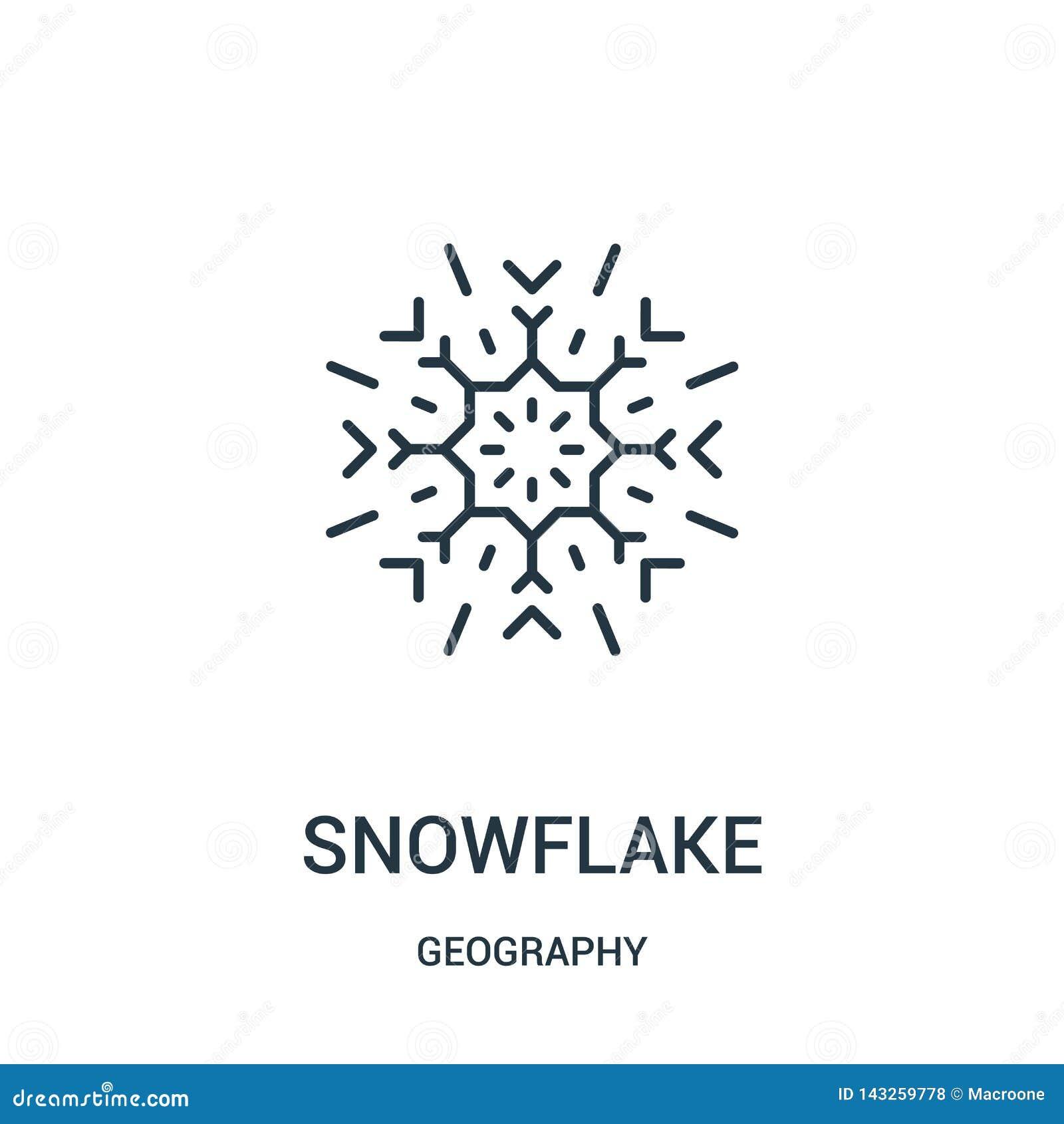 Vecteur d icône de flocon de neige de collection de géographie Ligne mince illustration de vecteur d icône d ensemble de flocon d
