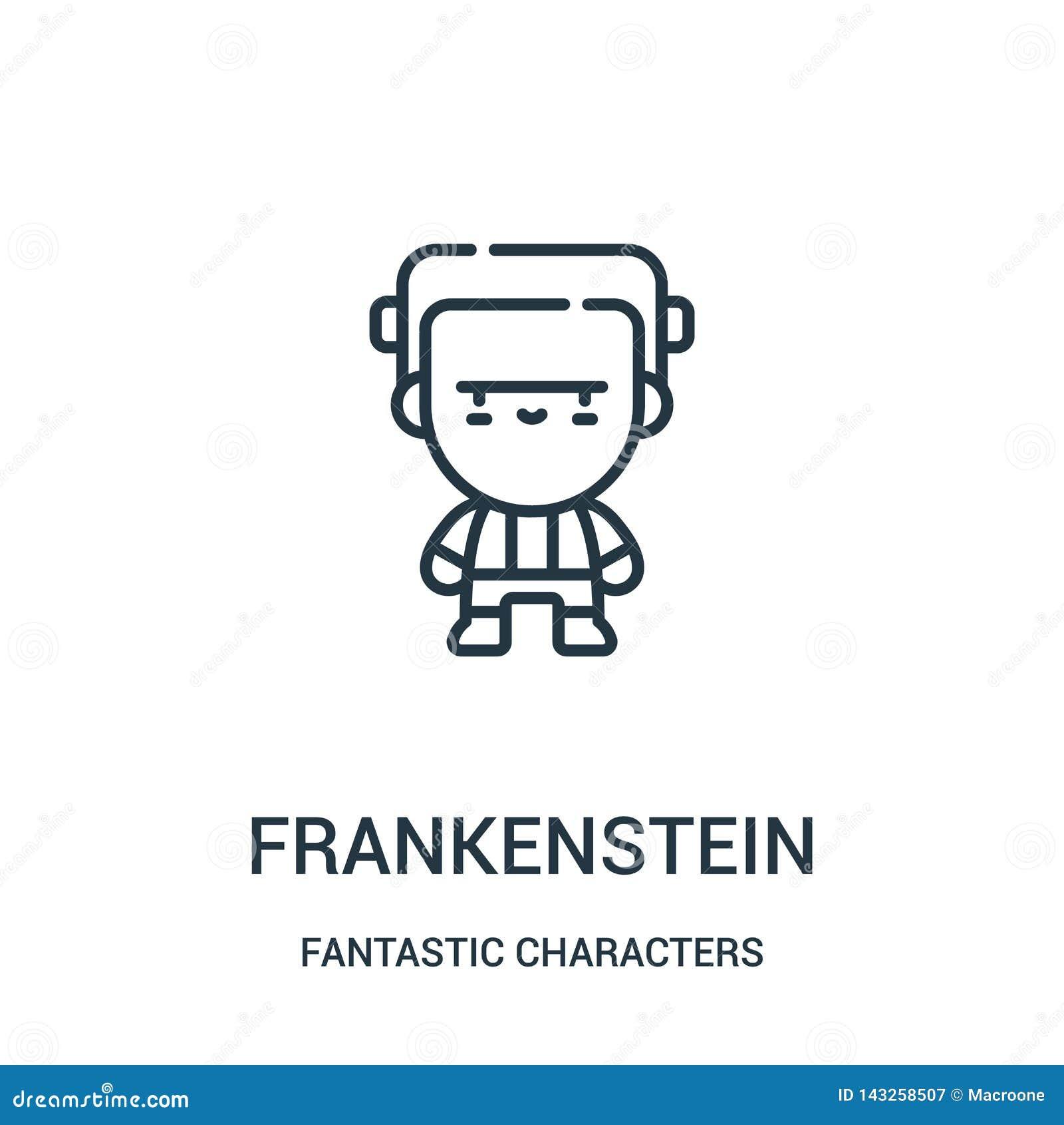 Vecteur d icône de frankenstein de la collection fantastique de caractères Ligne mince illustration de vecteur d icône d ensemble