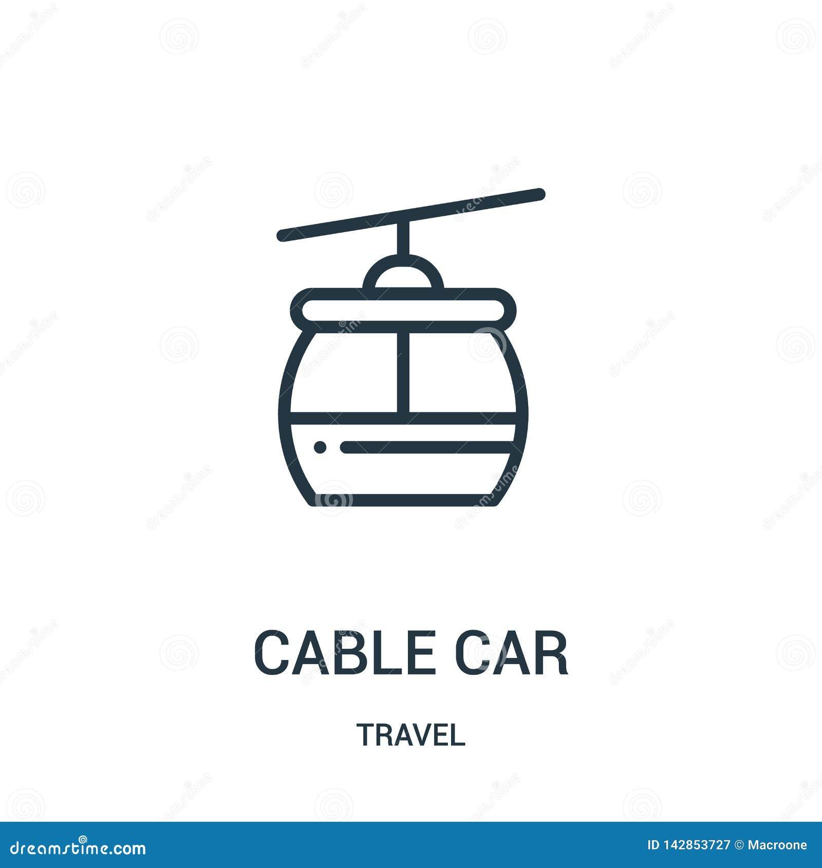 Vecteur d icône de funiculaire de collection de voyage Ligne mince illustration de vecteur d icône d ensemble de funiculaire Symb