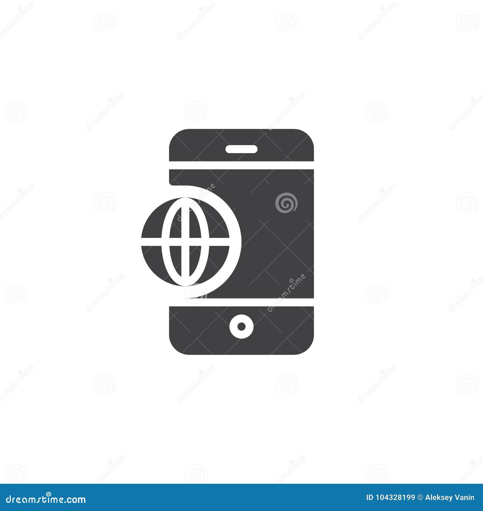 Vecteur d icône de globe du monde de téléphone