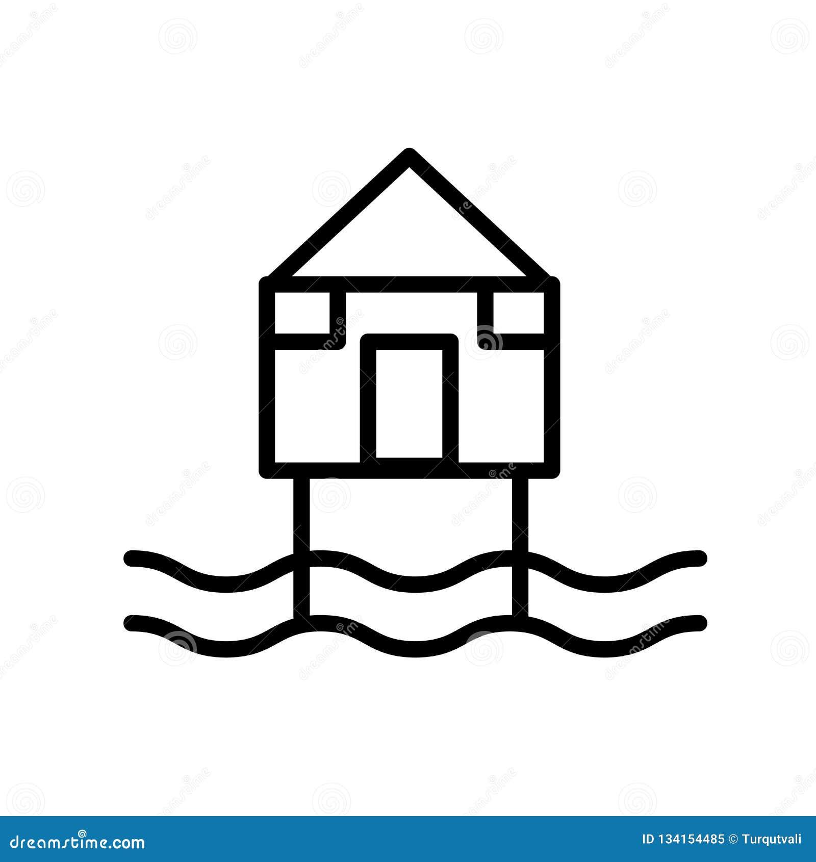 Vecteur d icône de hutte de plage d isolement sur le fond blanc, le signe de hutte de plage, la ligne ou le signe linéaire, conce