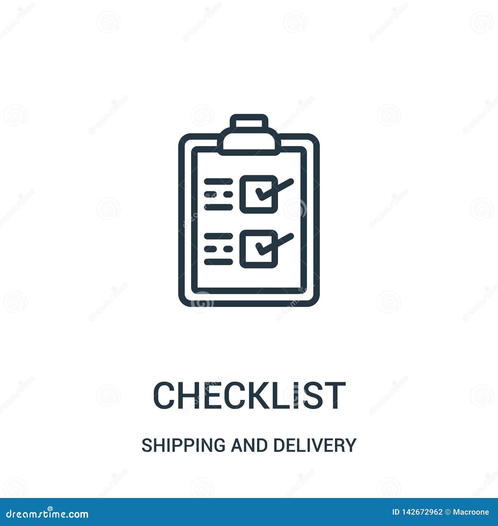 Vecteur d icône de liste de contrôle de collection d expédition et de livraison Ligne mince illustration de vecteur d icône d ens