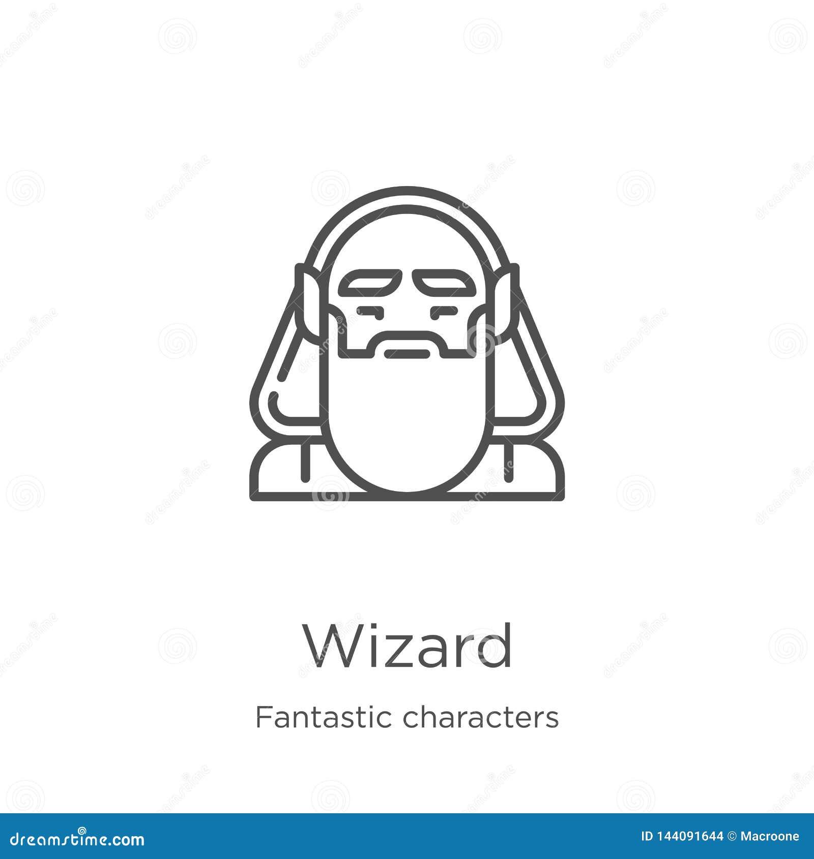 Vecteur d icône de magicien de la collection fantastique de caractères Ligne mince illustration de vecteur d icône d ensemble de