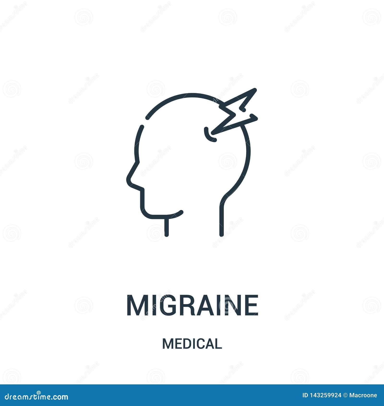 Vecteur d icône de migraine de la collection médicale Ligne mince illustration de vecteur d icône d ensemble de migraine