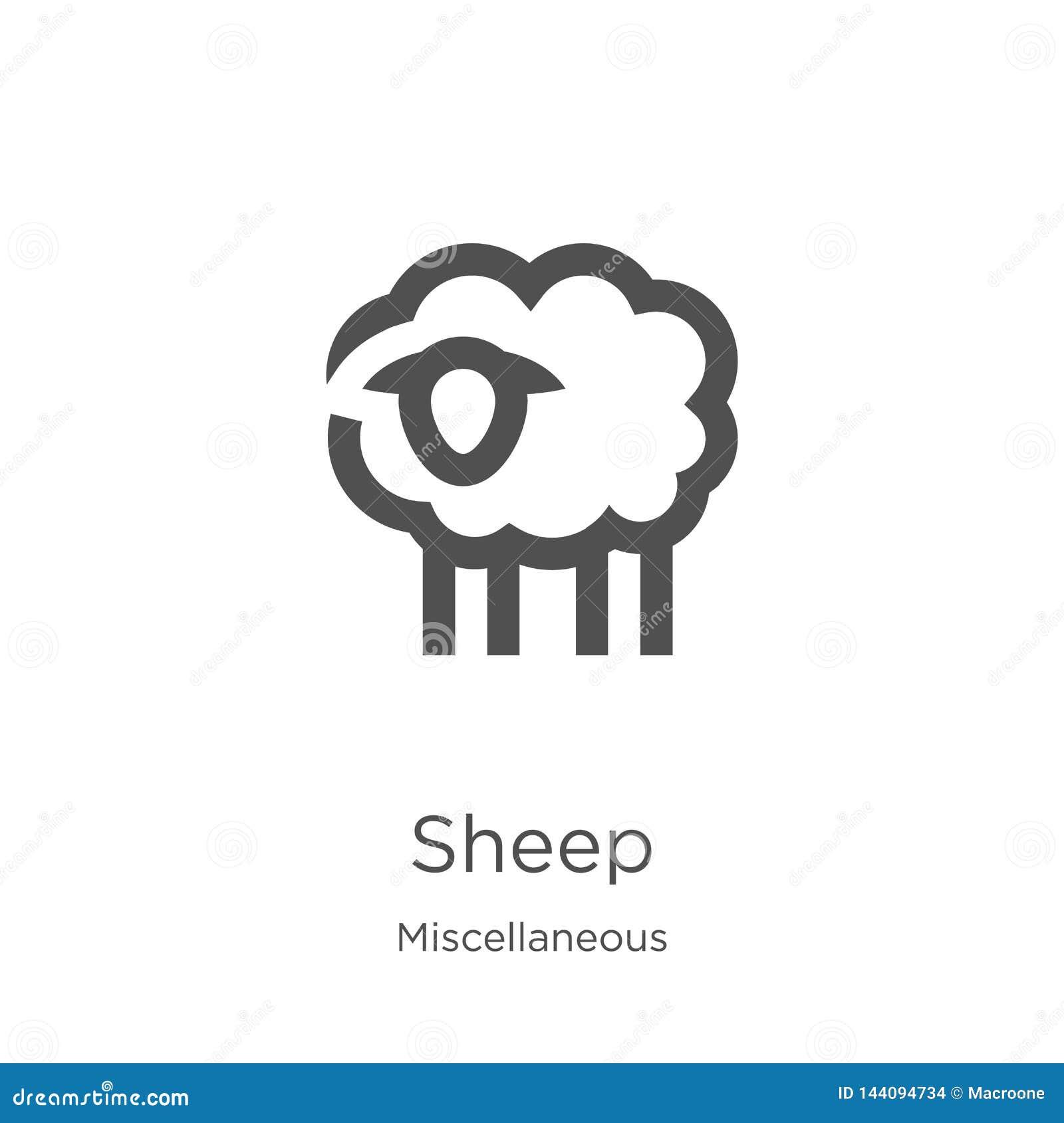 Vecteur d icône de moutons de la collection diverse Ligne mince illustration de vecteur d ic?ne d ensemble de moutons Contour, li