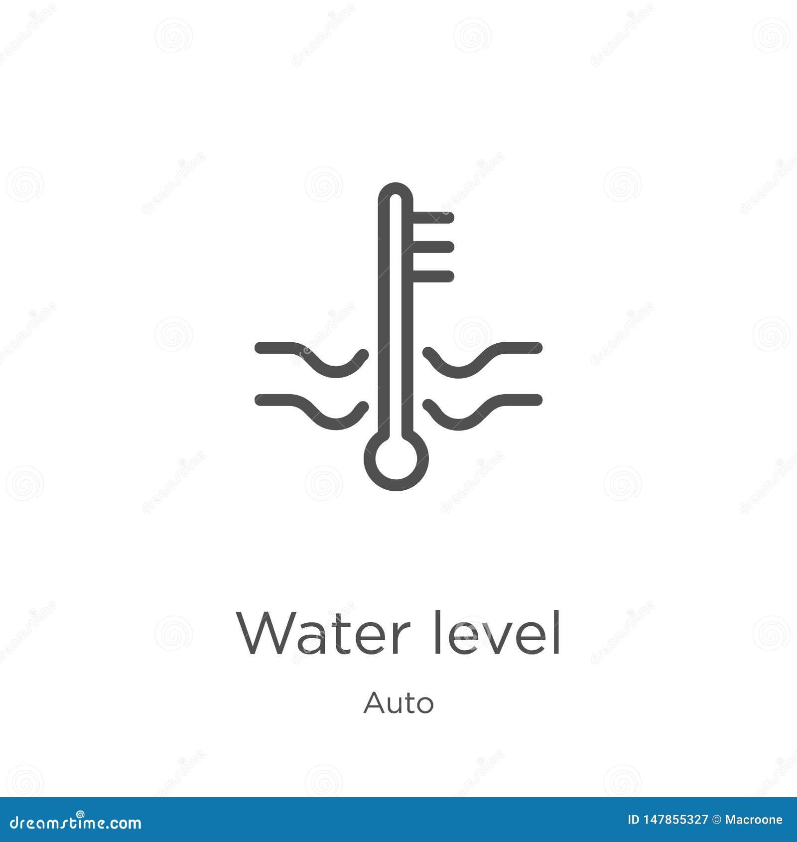 Vecteur d icône de niveau d eau de la collection automatique Ligne mince illustration de vecteur d icône d ensemble de niveau d e