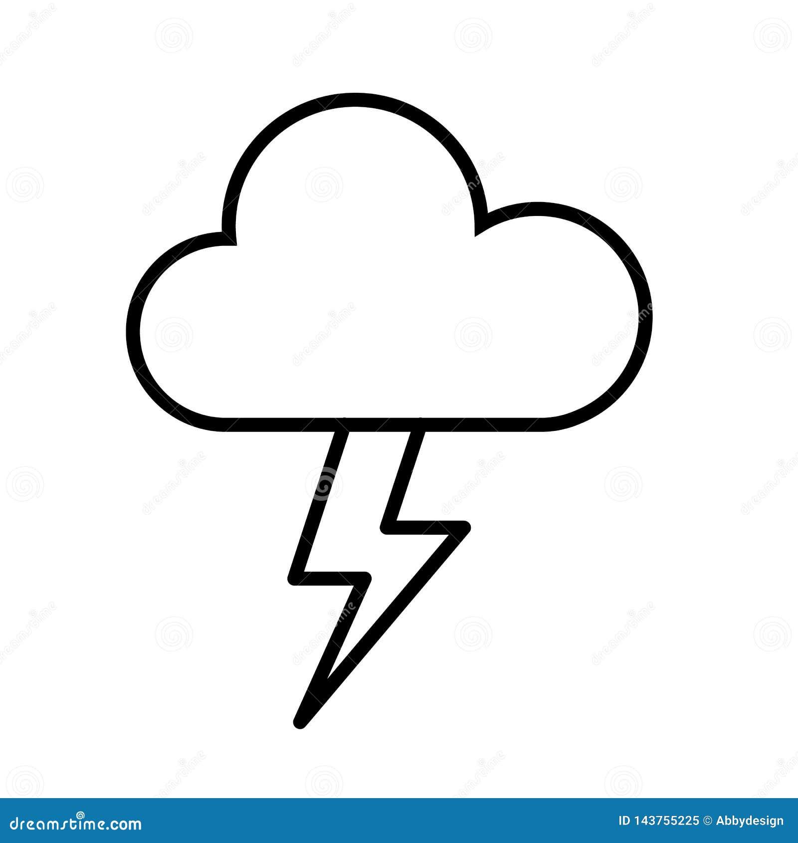 Vecteur d icône de nuage et de coup de foudre