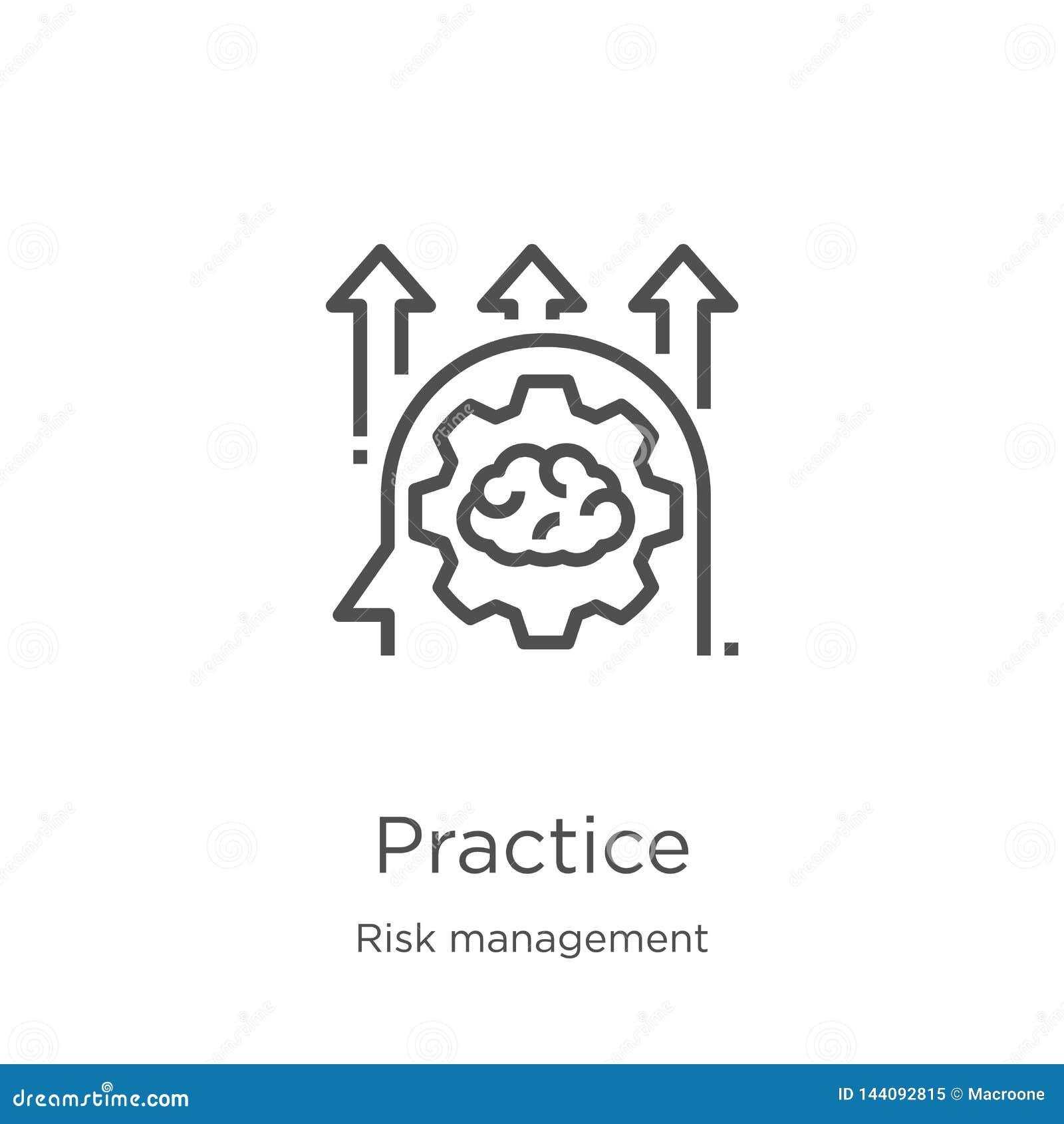 Vecteur d icône de pratique de collection de gestion des risques Ligne mince illustration de vecteur d icône d ensemble de pratiq
