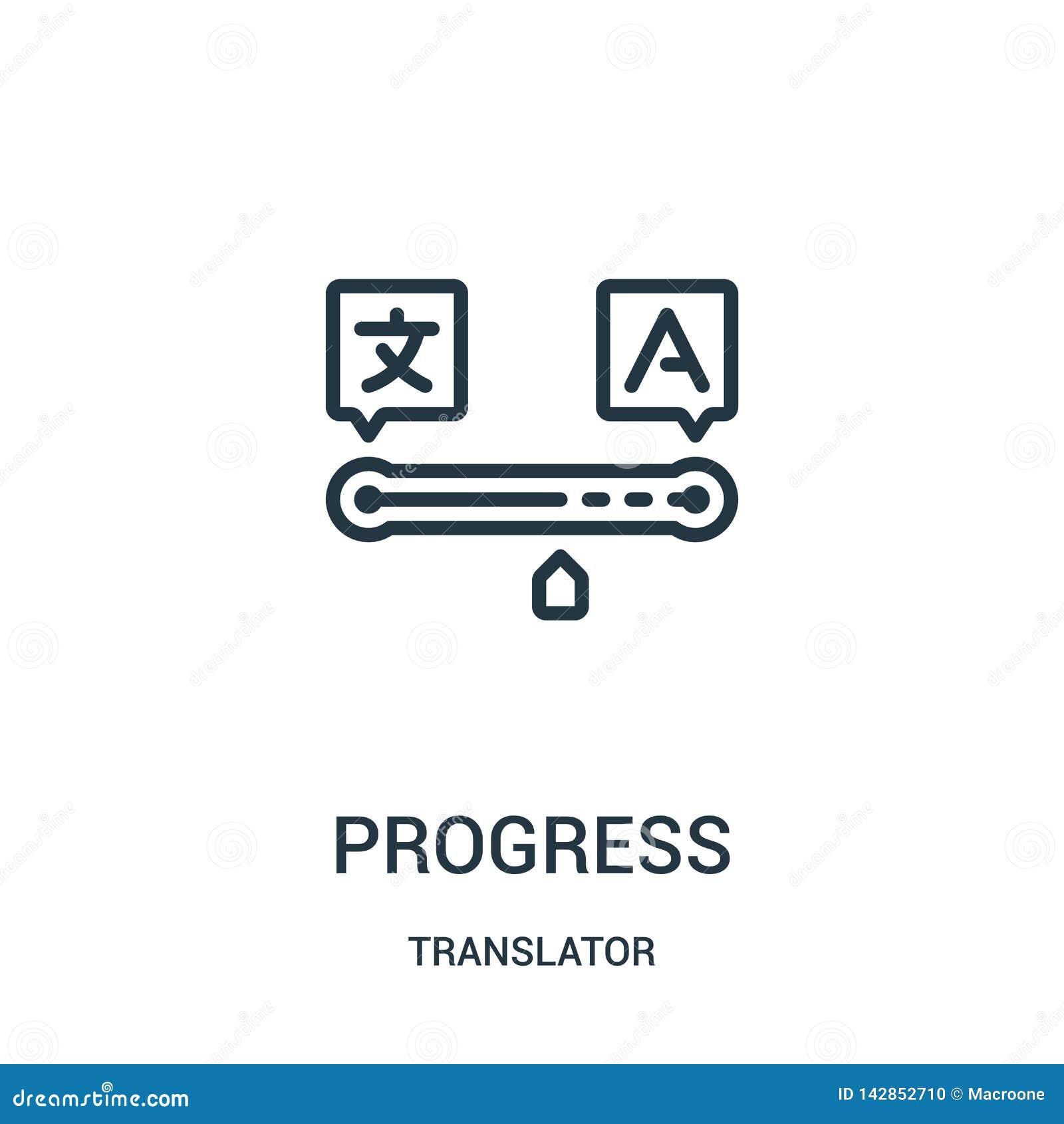 Vecteur d icône de progrès de collection de traducteur Ligne mince illustration de vecteur d icône d ensemble de progrès Symbole