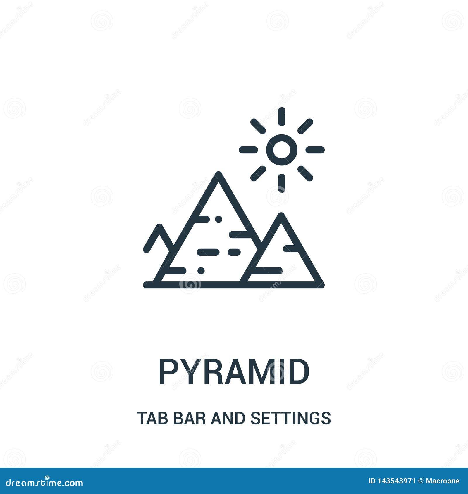 Vecteur d icône de pyramide de barre d étiquette et de collection d arrangements Ligne mince illustration de vecteur d ic?ne d en