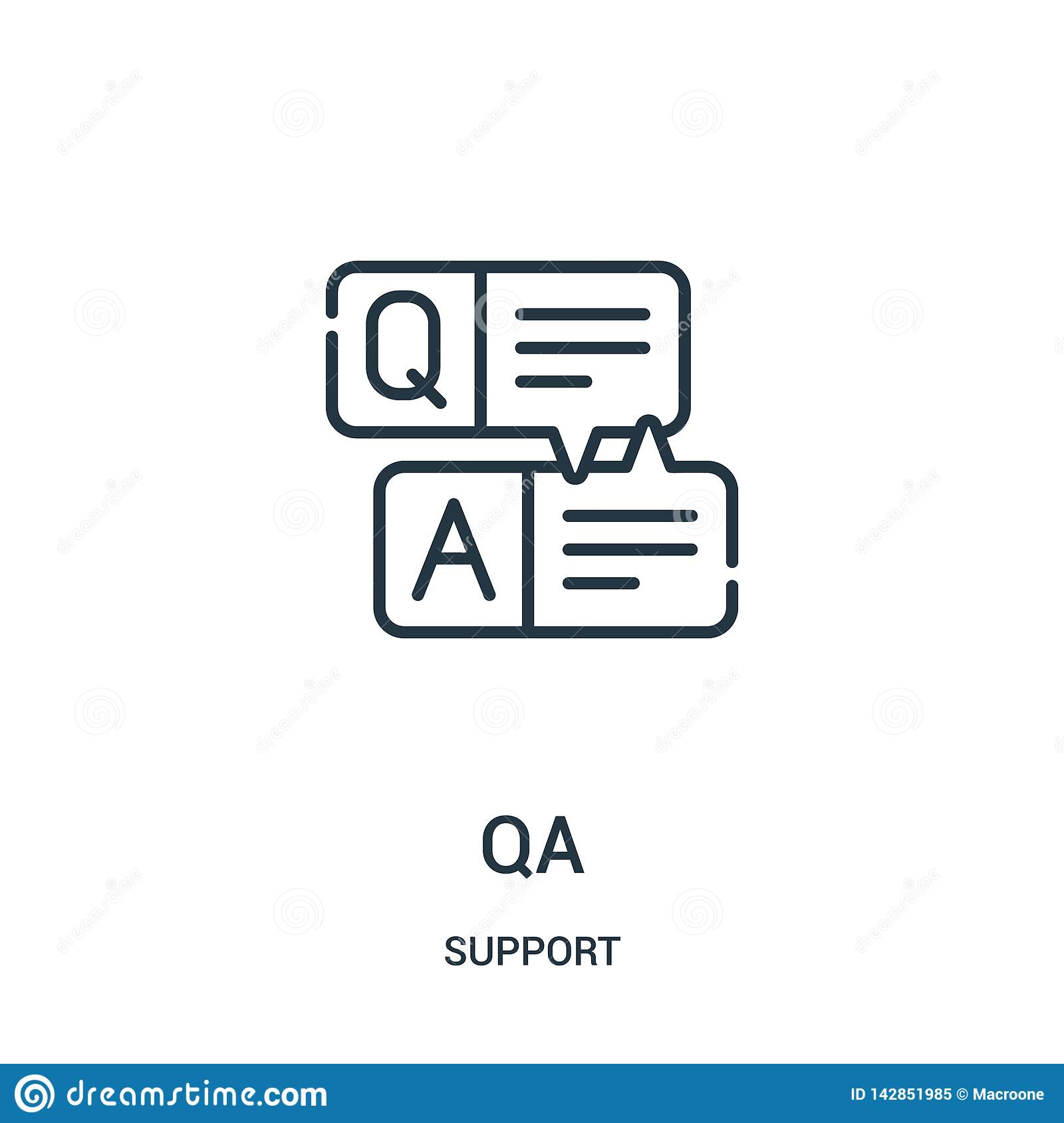 Vecteur d icône de QA de collection de soutien Ligne mince illustration de vecteur d icône d ensemble de QA Symbole linéaire pour