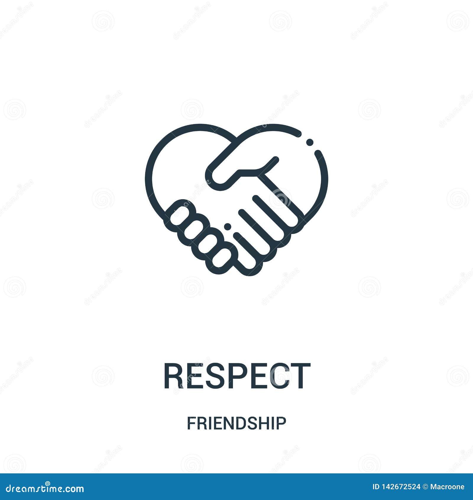 Vecteur d icône de respect de collection d amitié Ligne mince illustration de vecteur d icône d ensemble de respect Symbole linéa