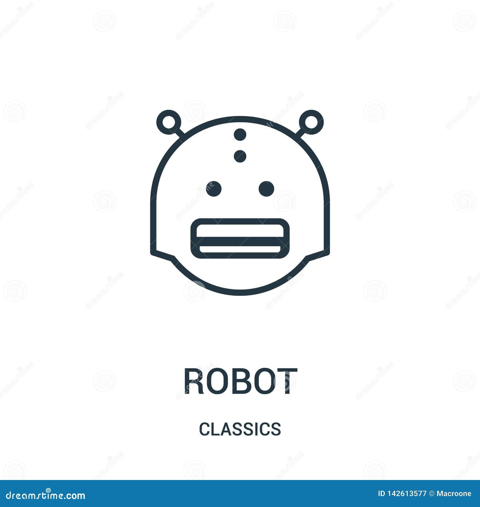 Vecteur d icône de robot de collection de classiques Ligne mince illustration de vecteur d ic?ne d ensemble de robot Symbole lin?