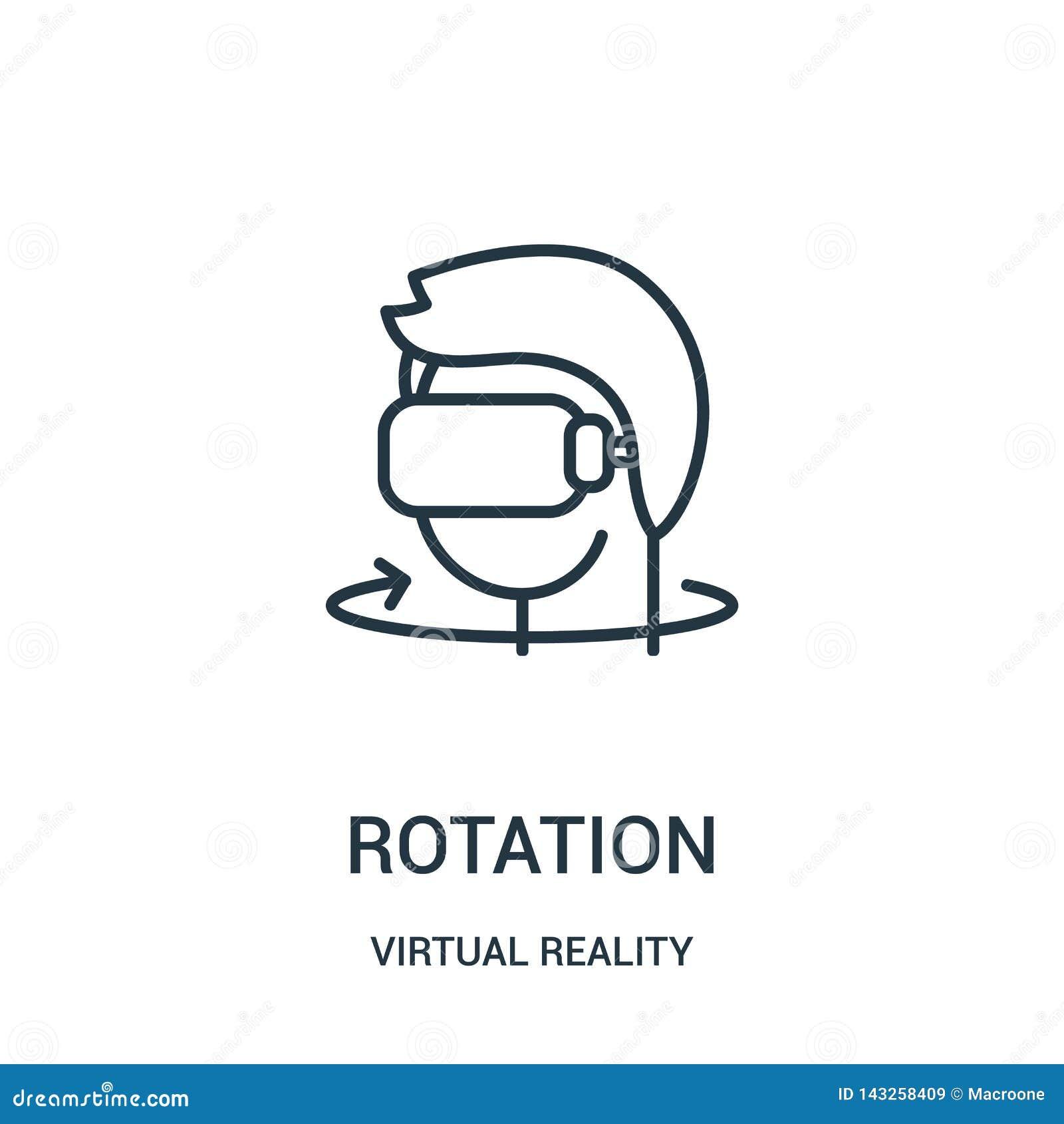 Vecteur d icône de rotation de collection de réalité virtuelle Ligne mince illustration de vecteur d icône d ensemble de rotation