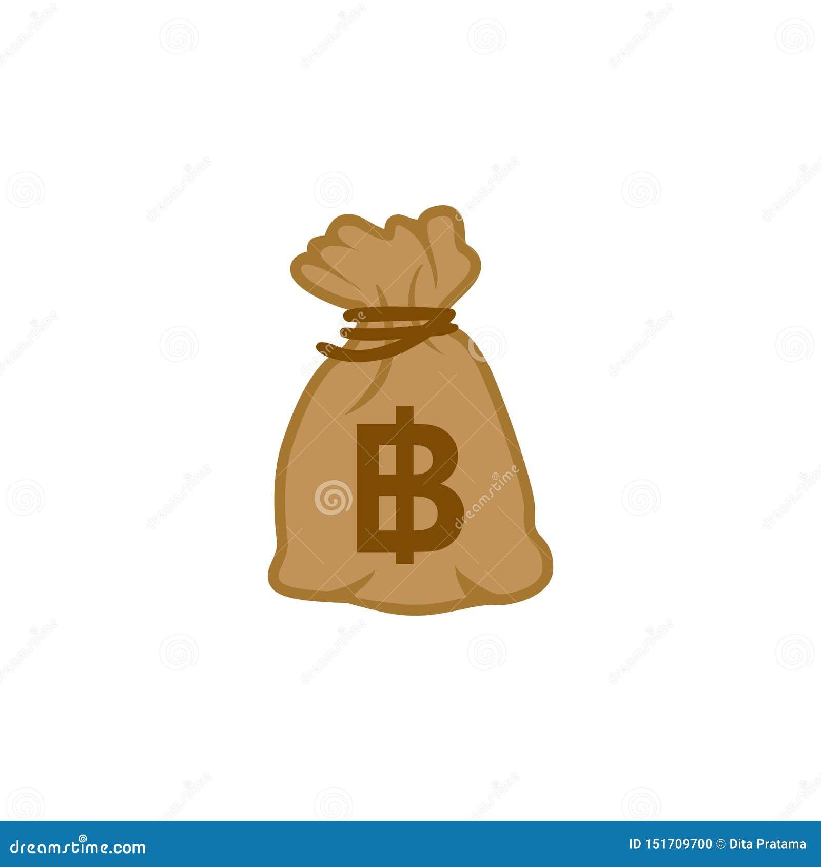 Vecteur d icône de sac d argent de baht supérieur Thaïlande de devise du monde