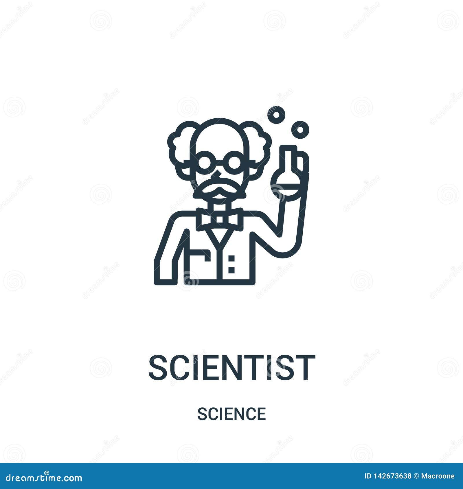 Vecteur d icône de scientifique de collection de la science Ligne mince illustration de vecteur d icône d ensemble de scientifiqu
