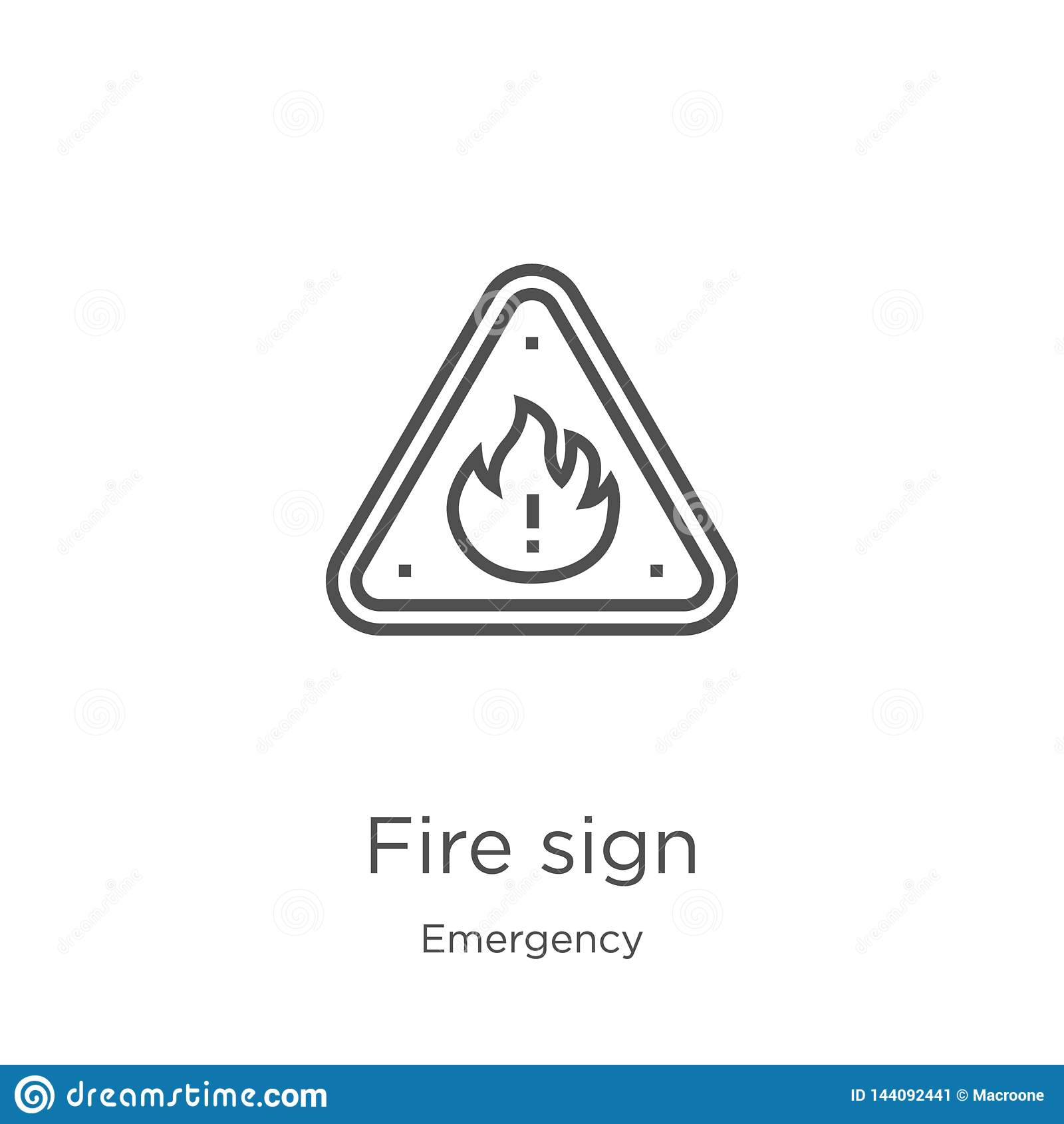 Vecteur d icône de signe du feu de collection de secours Ligne mince illustration de vecteur d icône d ensemble de signe du feu C