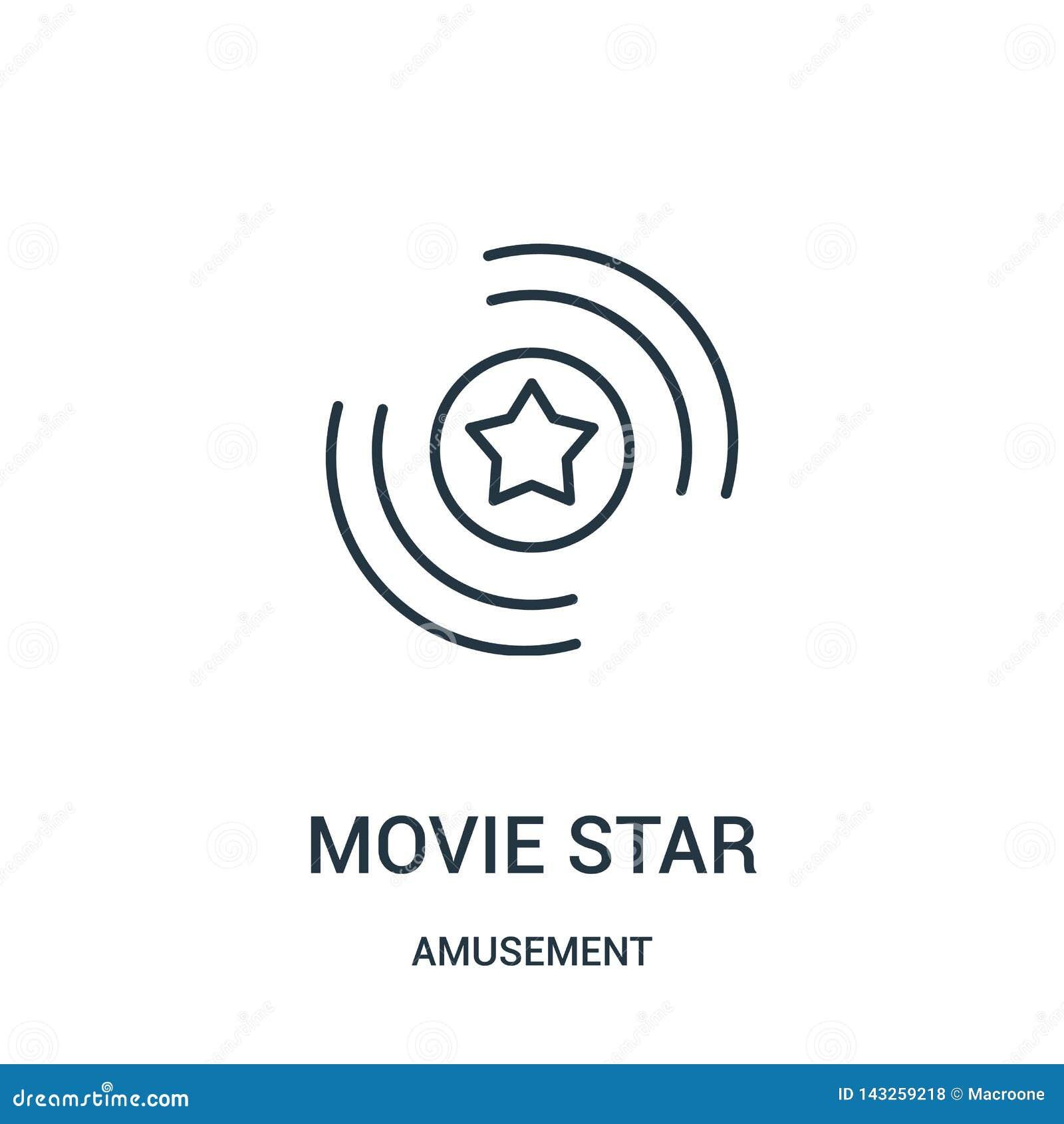Vecteur d icône de star de cinéma de collection d amusement Ligne mince illustration de vecteur d icône d ensemble de star de cin