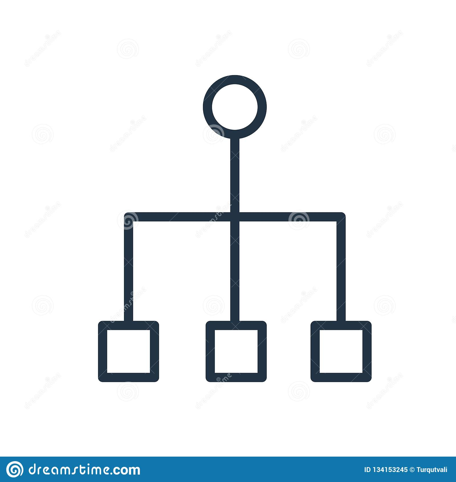 Vecteur d icône de structure hiérarchisée d isolement sur le fond blanc, signe de structure hiérarchisée