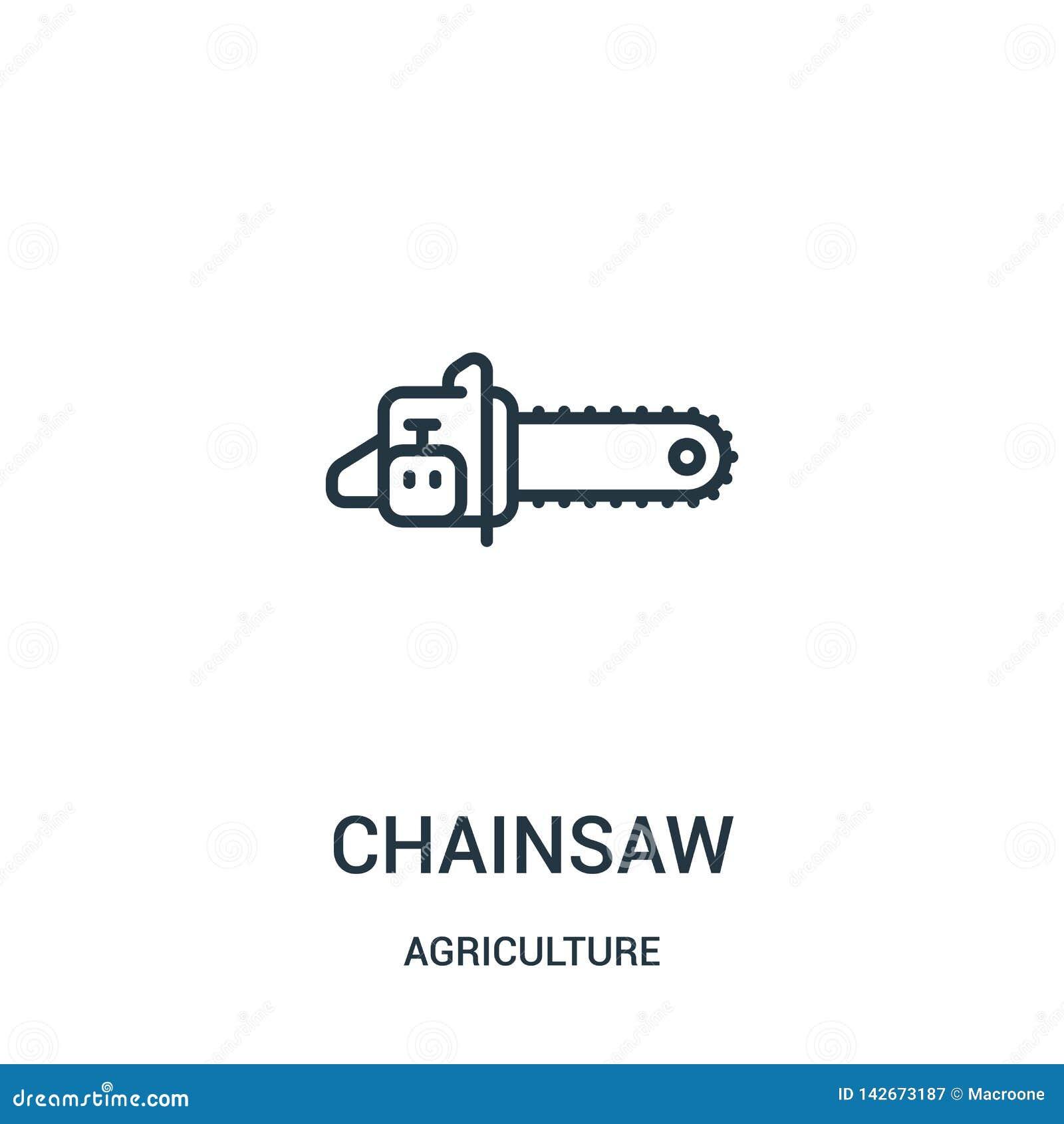 Vecteur d icône de tronçonneuse de collection d agriculture Ligne mince illustration de vecteur d icône d ensemble de tronçonneus