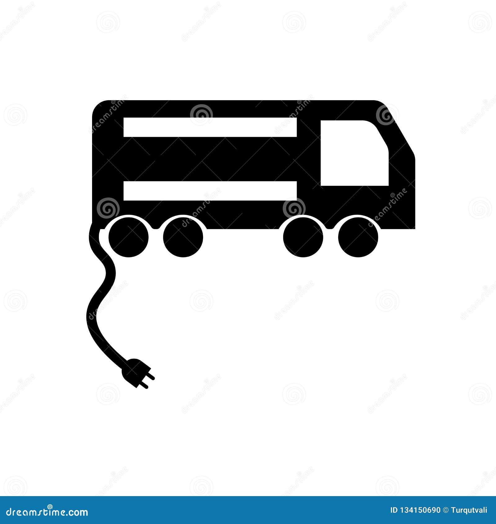 Vecteur d icône de voiture électrique d isolement sur le fond blanc, signe de voiture électrique, symboles noirs