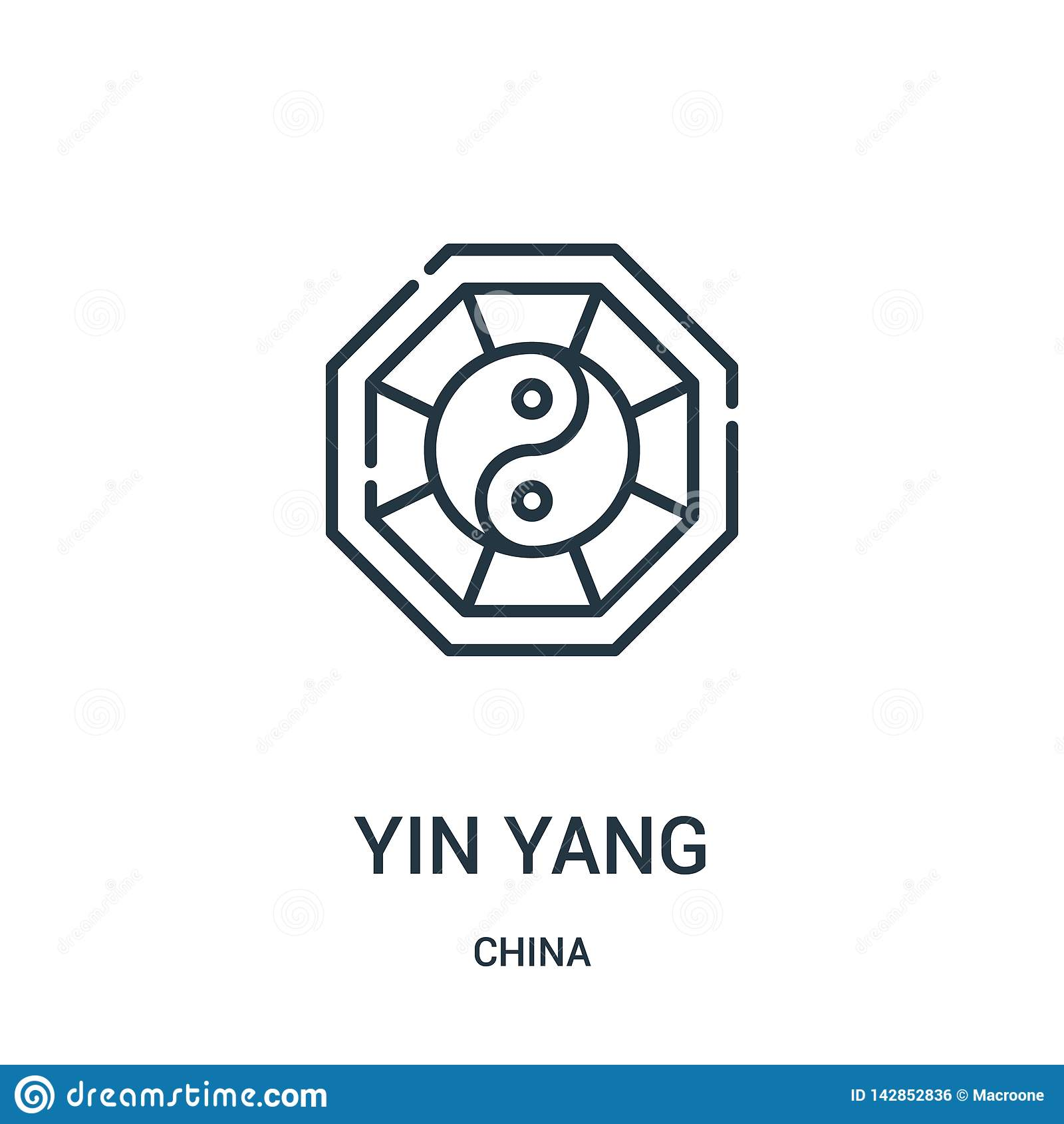 Vecteur d icône de yang de yin de collection de porcelaine Ligne mince illustration de vecteur d icône d ensemble de yang de yin