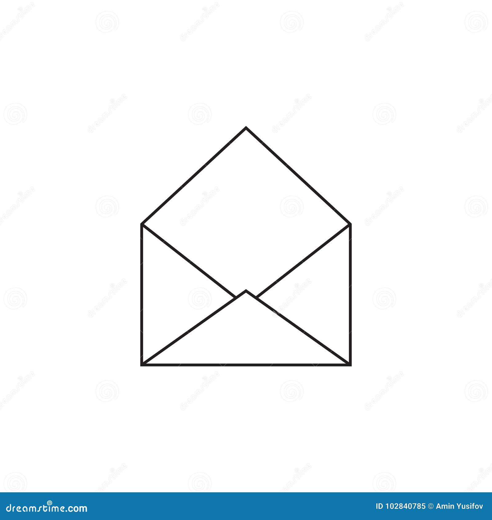 Dessin D Enveloppe vecteur d'icône d'enveloppe, illustration solide, isola linéaire de