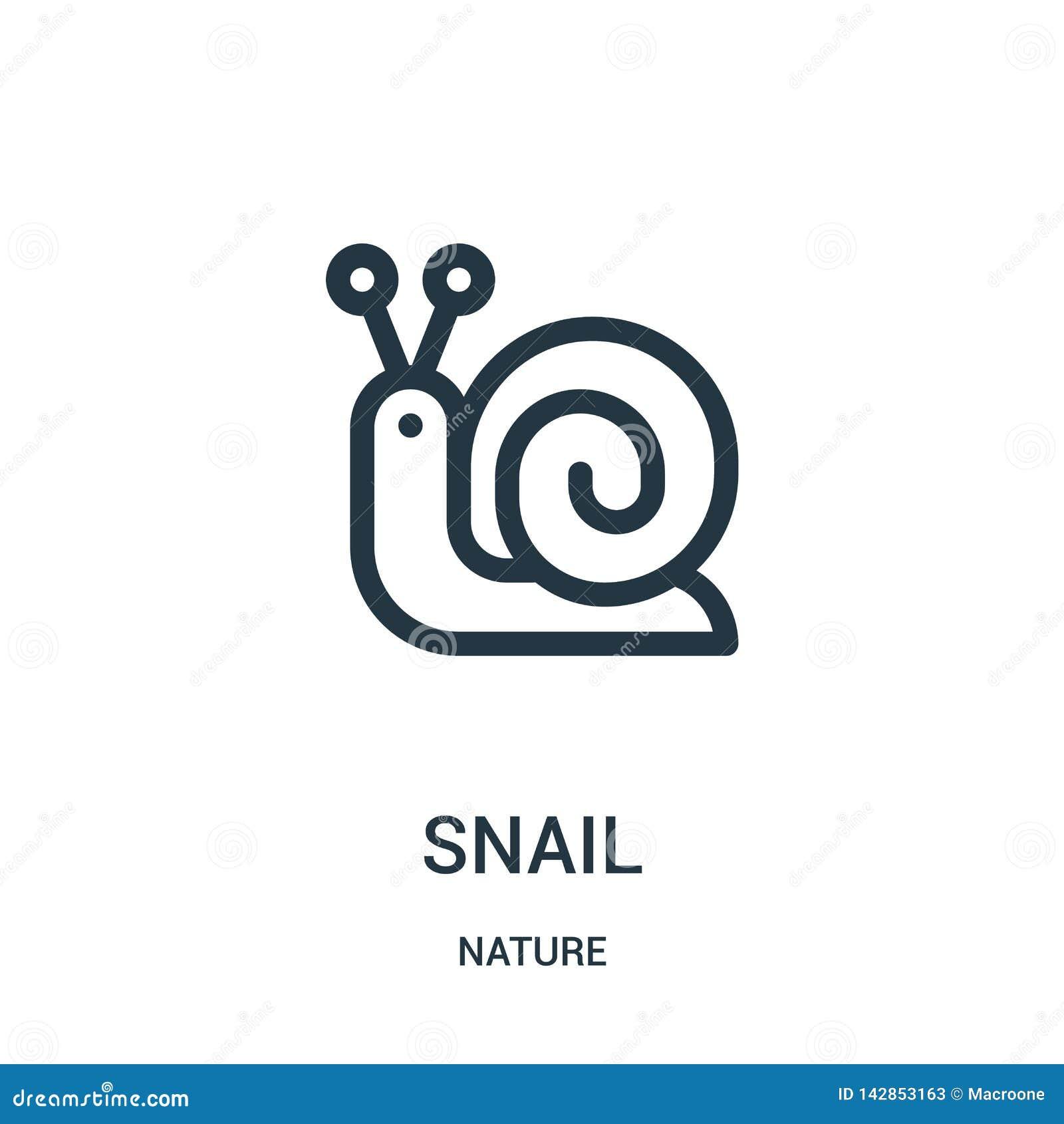 Vecteur d icône d escargot de collection de nature Ligne mince illustration de vecteur d icône d ensemble d escargot Symbole liné