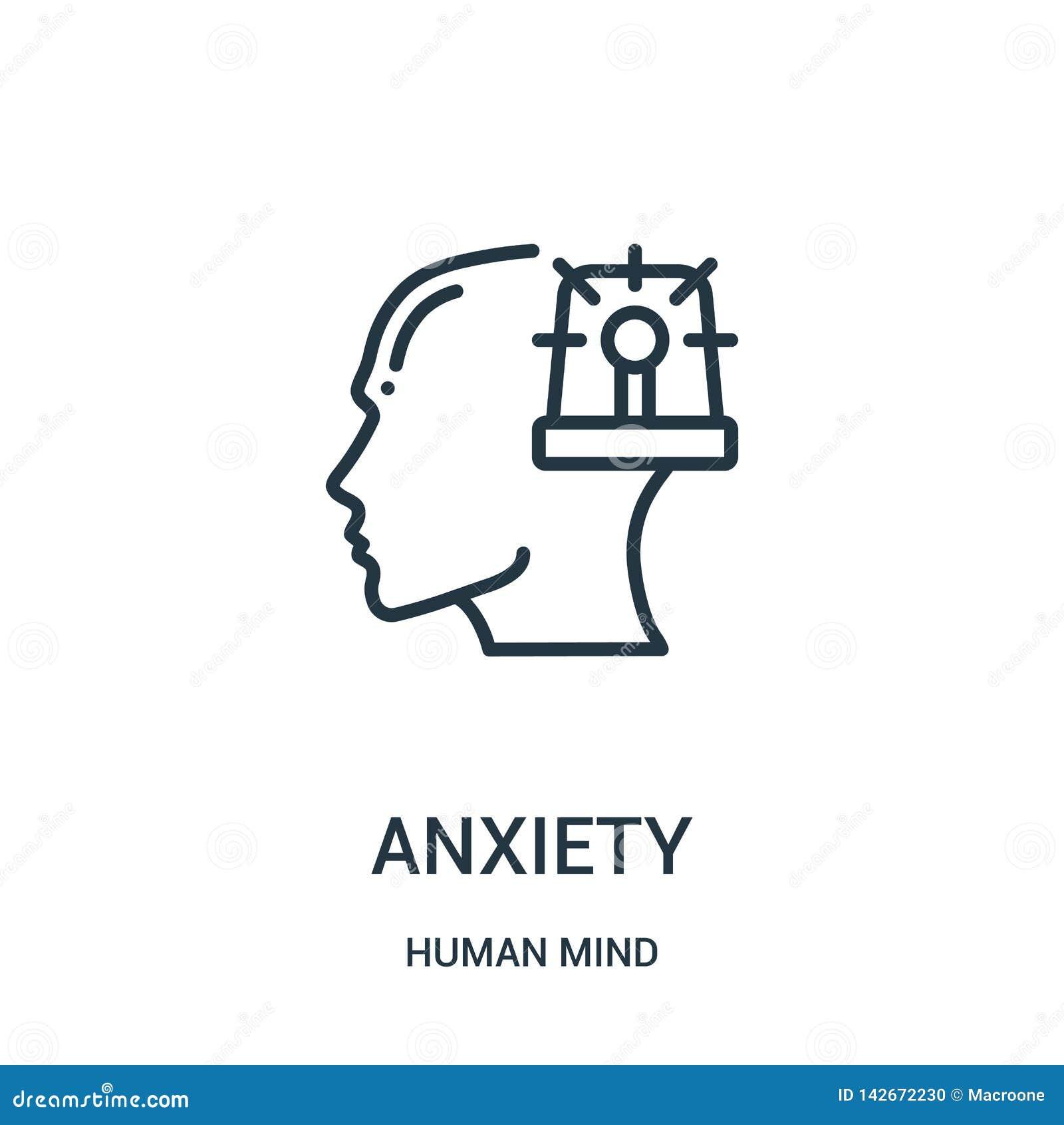 Vecteur d icône d inquiétude de collection d esprit humain Ligne mince illustration de vecteur d icône d ensemble d inquiétude Sy