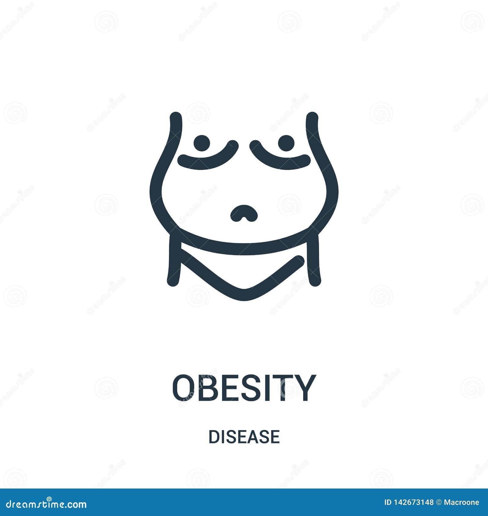 Vecteur d icône d obésité de collection de la maladie Ligne mince illustration de vecteur d icône d ensemble d obésité Symbole li