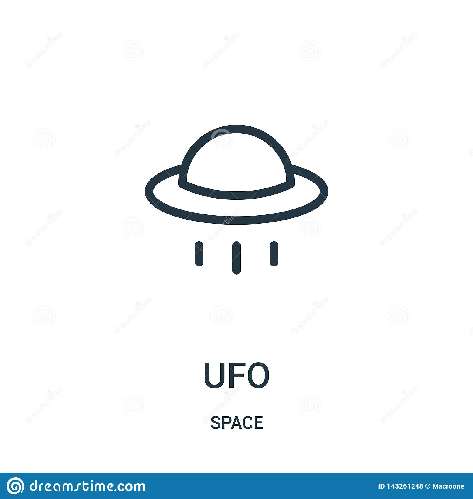 Vecteur d icône d UFO de collection de l espace Ligne mince illustration de vecteur d icône d ensemble d UFO
