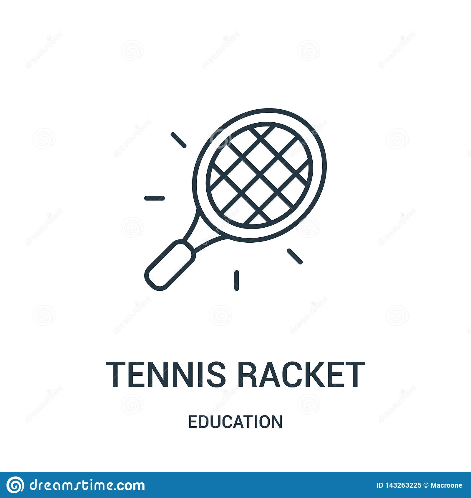 Vecteur d ic?ne de raquette de tennis de collection d ?ducation Ligne mince illustration de vecteur d ic?ne d ensemble de raquett