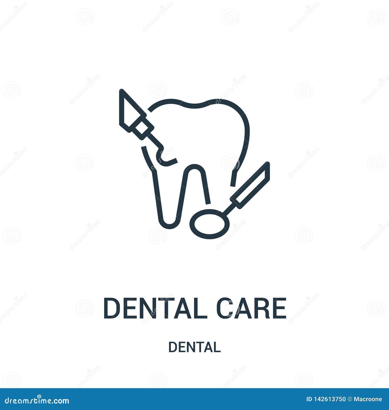 Vecteur d ic?ne de soins dentaires de la collection dentaire Ligne mince illustration de vecteur d ic?ne d ensemble de soins dent