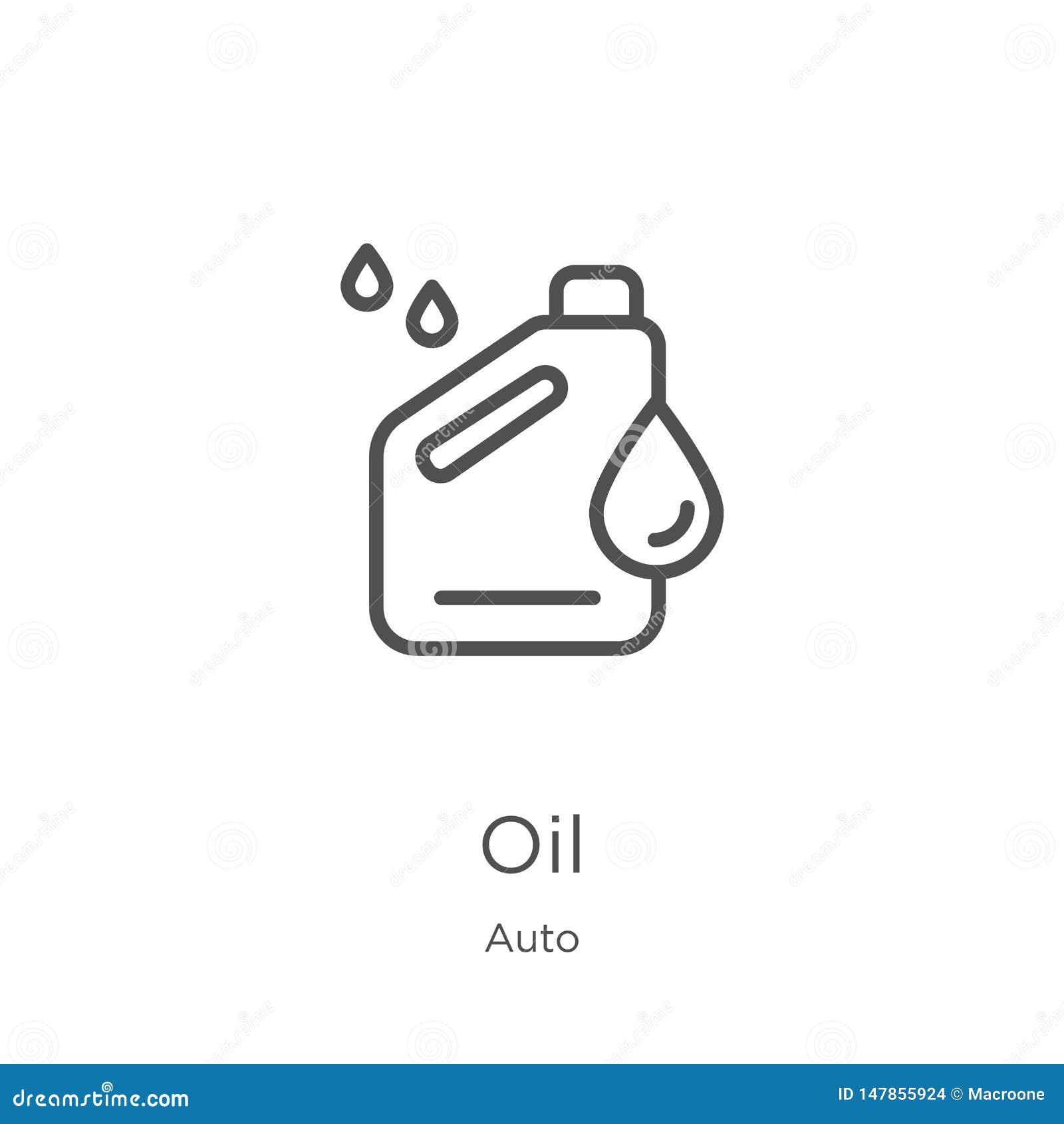 Vecteur d ic?ne d huile de la collection automatique Ligne mince illustration de vecteur d ic?ne d ensemble d huile Contour, lign