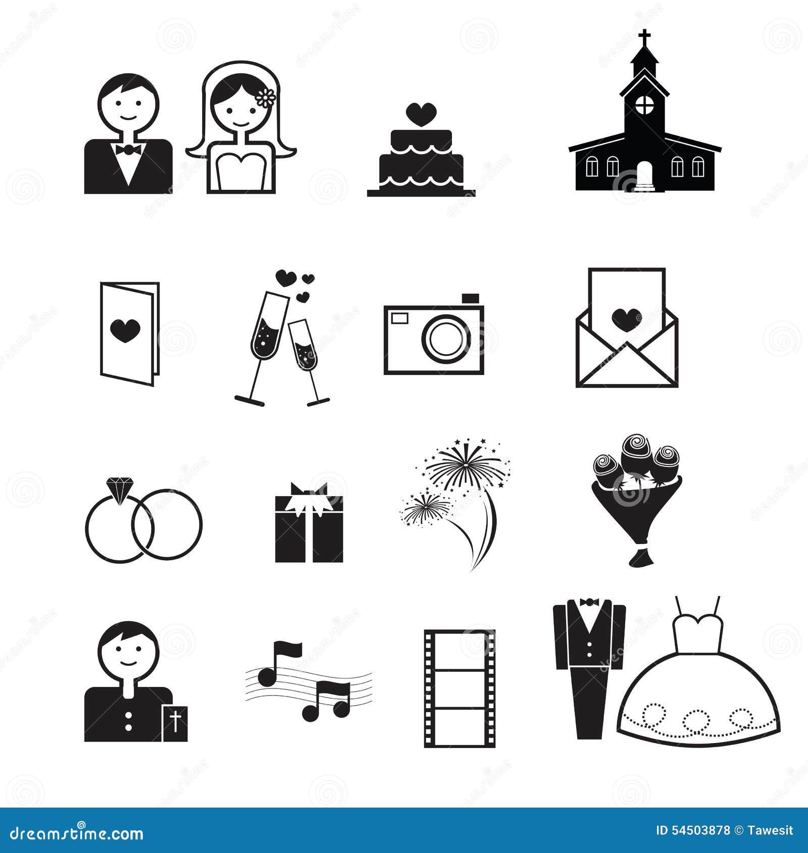 Vecteur d icônes de cérémonie de mariage