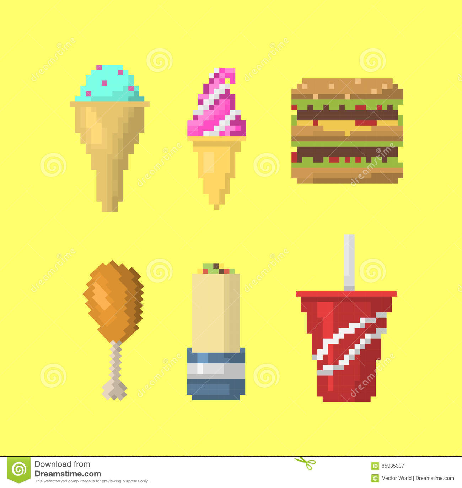 Vecteur Dicônes De Nourriture Dart De Pixel Illustration