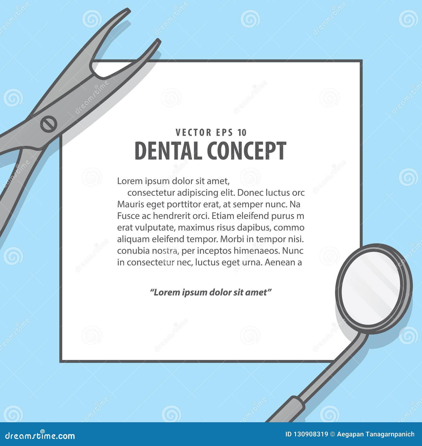 Vecteur d illustration de cadre d équipement dentaire sur le fond bleu d